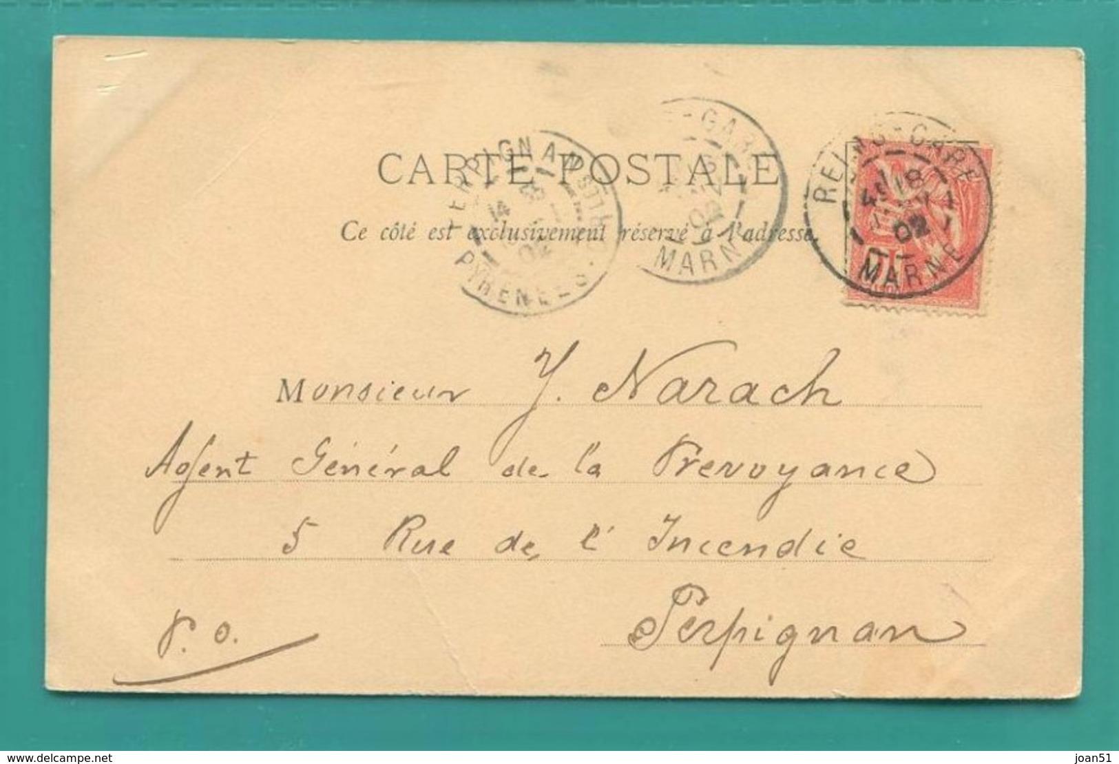M2 : DOUBLE TAD TYPE 84 REIMS GARE JANVIER 1902 SUR MOUCHON ROSE 10 C ( 116 ) + TAD PERPIGNAN - Railway Post