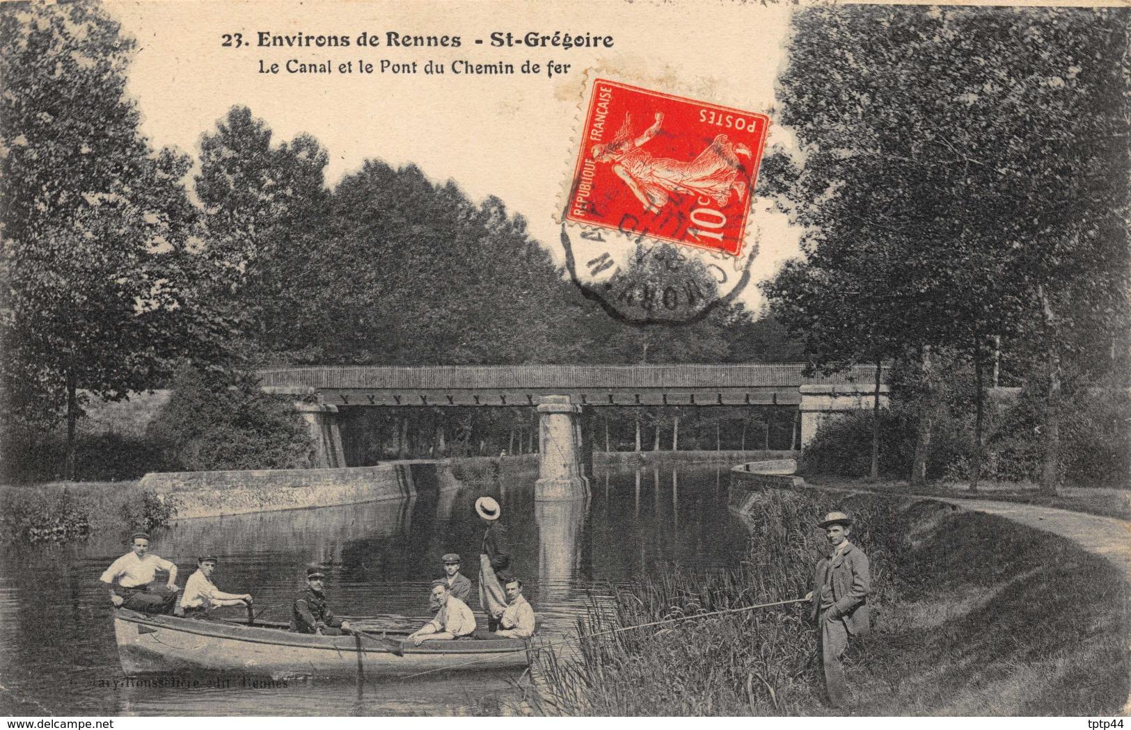 Environs De Rennes - St-Grégoire - Le Canal Et Le Pont De Chemin De Fer - Barque - Pêcheur - Autres Communes