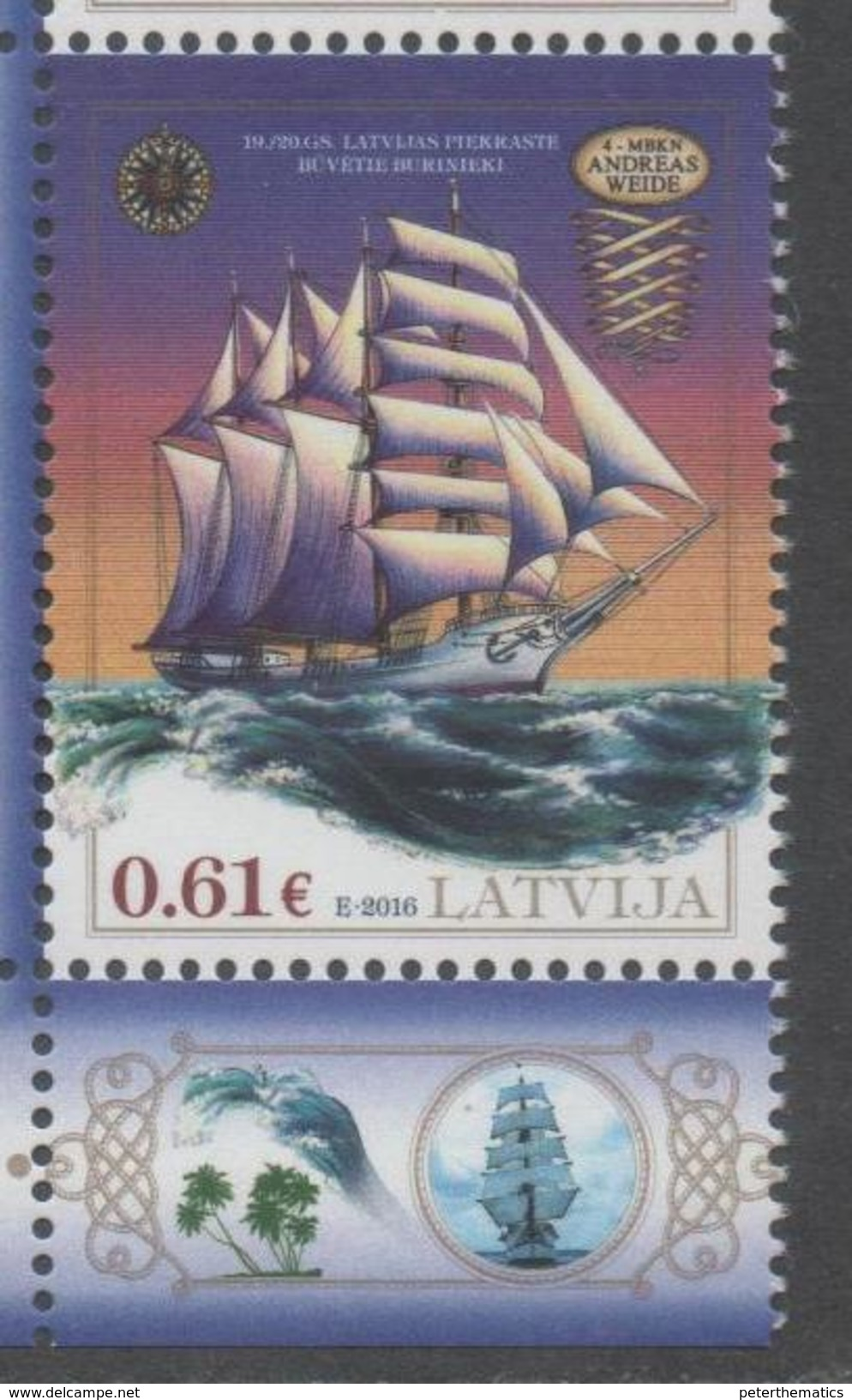 LATVIA,  2016, MNH, SHIPS, SALILING SHIPS, ,1v - Barche