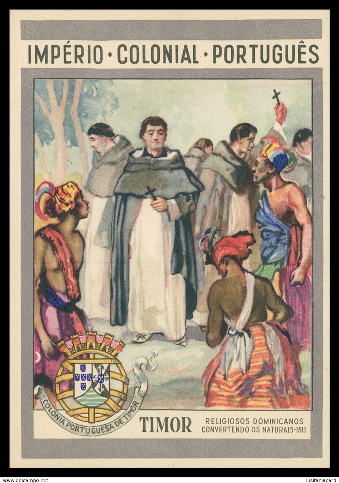 TIMOR - Religiosos Dominicanos Convertendo Os Naturais - 1511.    Carte Postale - Timor Oriental