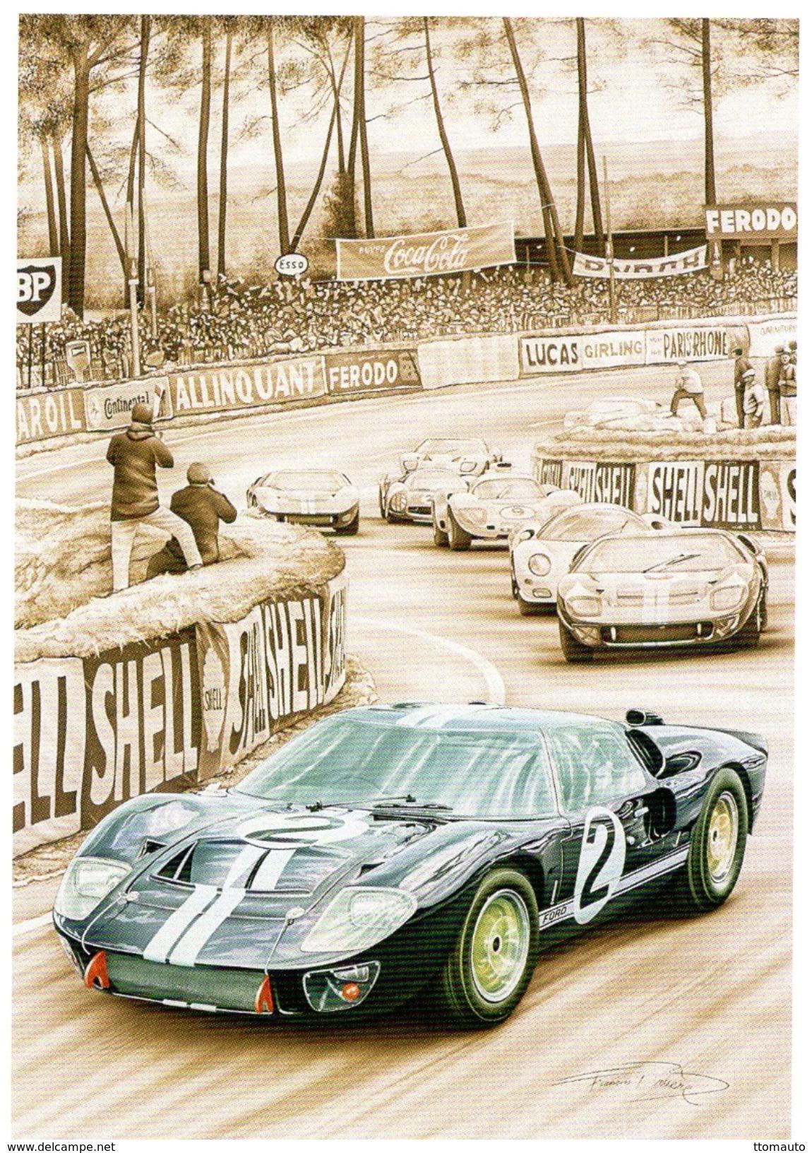 24 Heures Du Mans 1966  -  Ford GT40 MkII  -  Bruce McLaren/Chris Amon - Tableau De Francois Bruère   -  Carte Postale - Le Mans