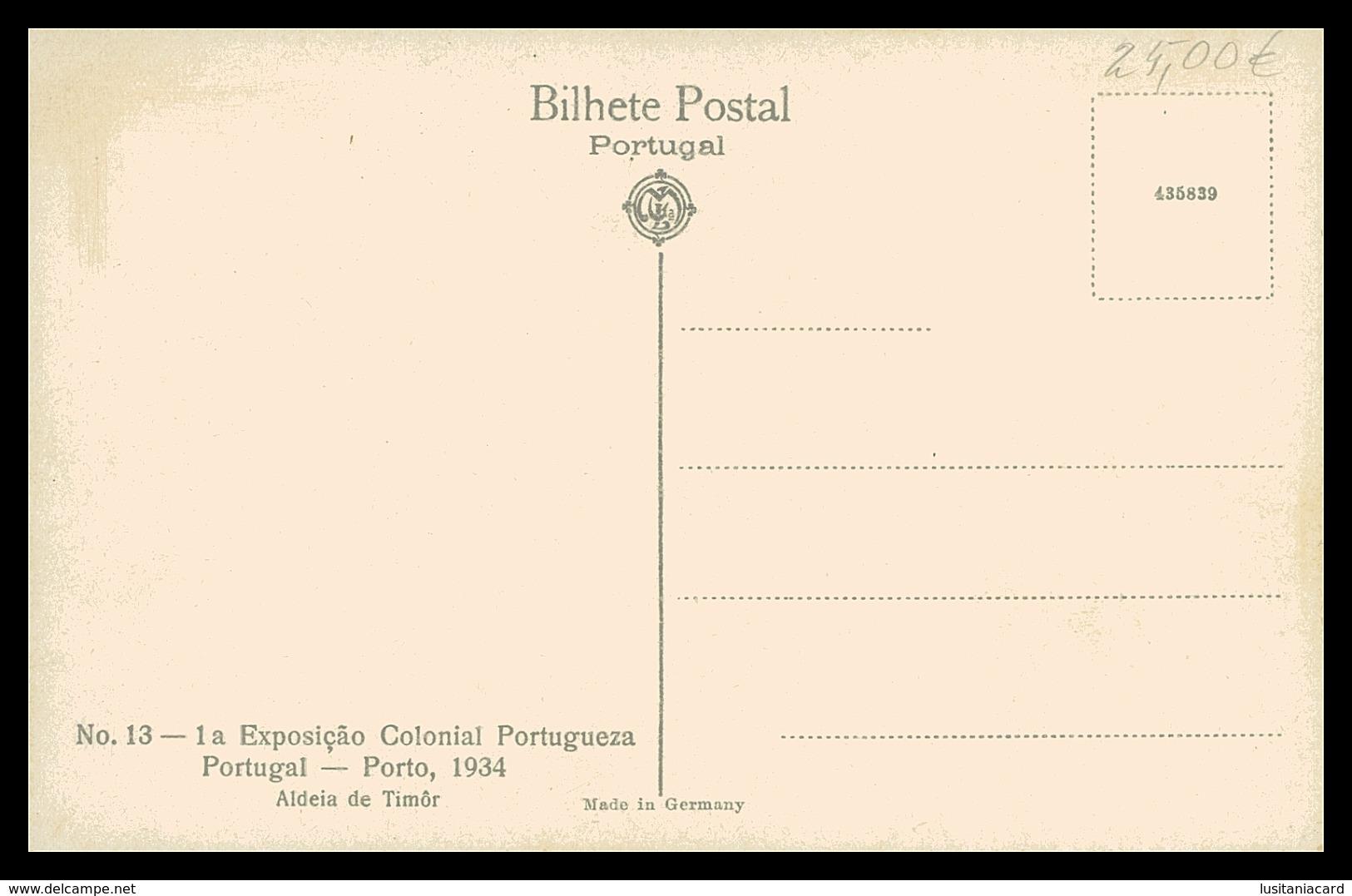 TIMOR - EXPOSIÇÕES -  1ª Exposição Colonial Portuguesa. (Nº 13)   Carte Postale - Timor Oriental