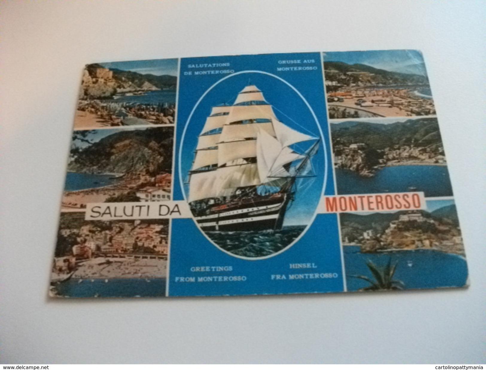 NAVE SHIP VELIERO AMERIGO VESPUCCI SALUTI DA MONTEROSSO VEDUTINE LIGURIA - Voiliers