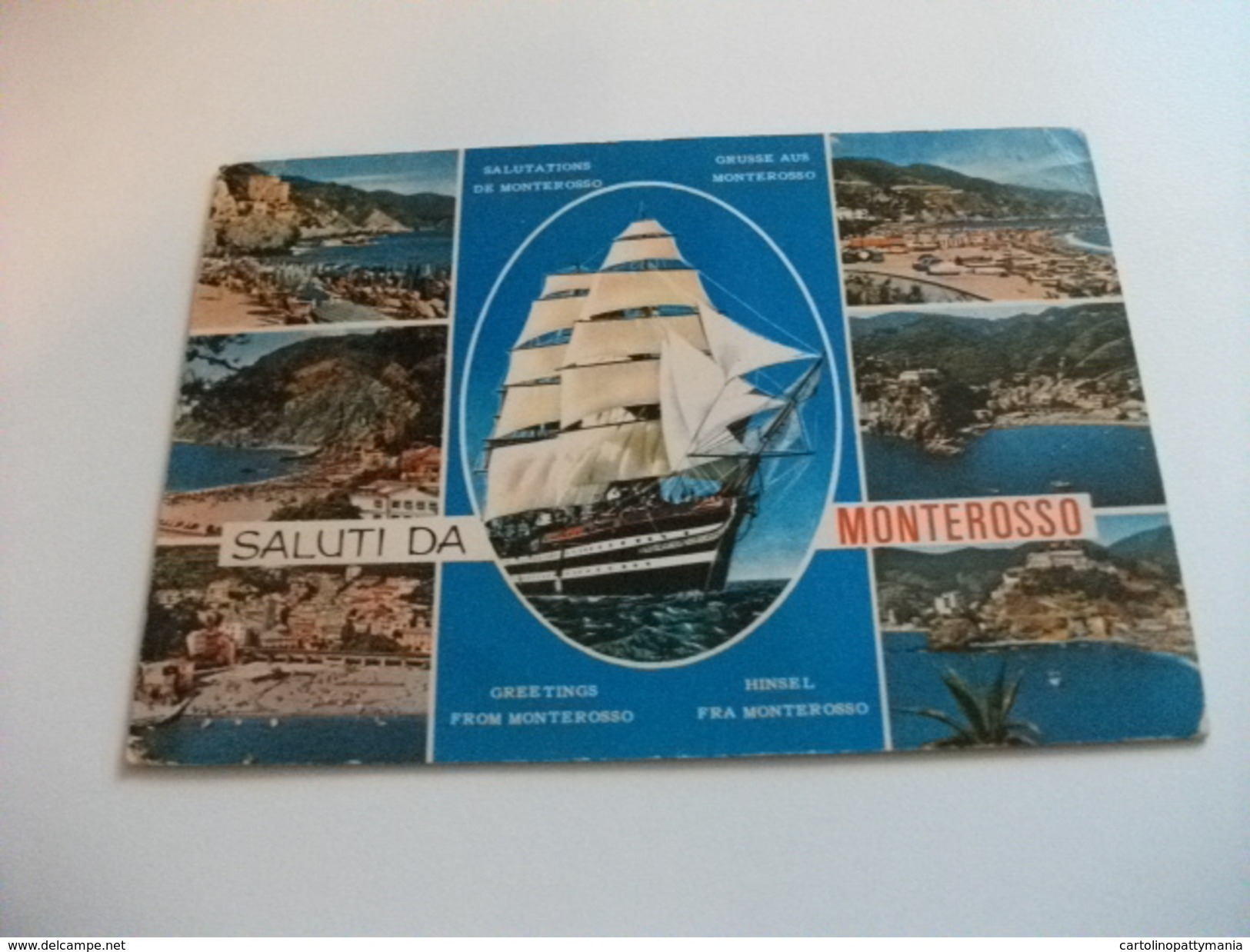 NAVE SHIP VELIERO AMERIGO VESPUCCI SALUTI DA MONTEROSSO VEDUTINE LIGURIA - Velieri