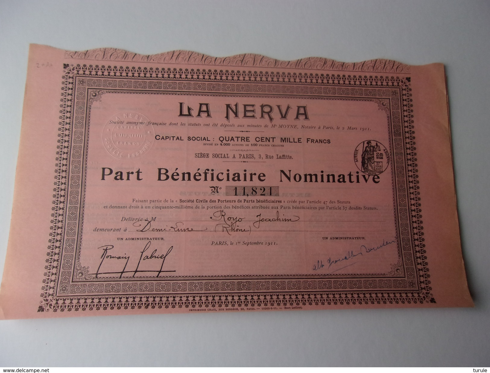 LA NERVA (1911) - Shareholdings