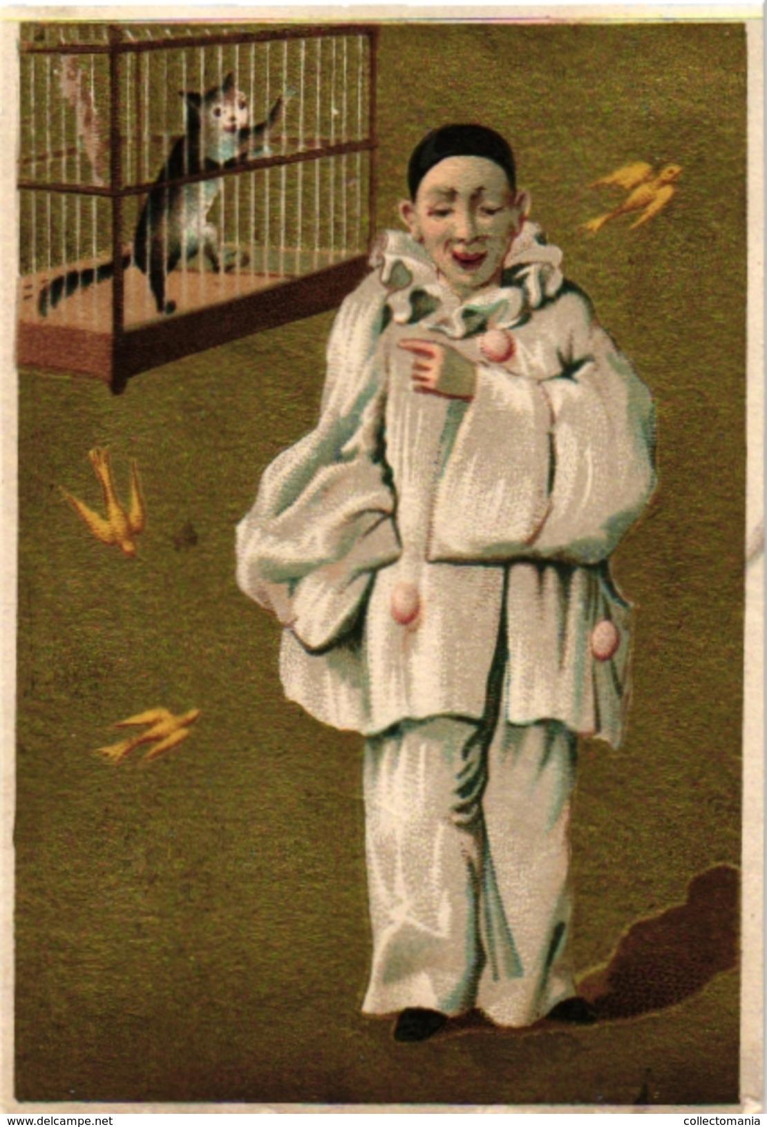 6 Litho Cards C1900 Litho Pierrot Fishing Cat Papillons Hare Fond Dorée Blanco Reverse SET Complete VERY Good - RARE - Chromos