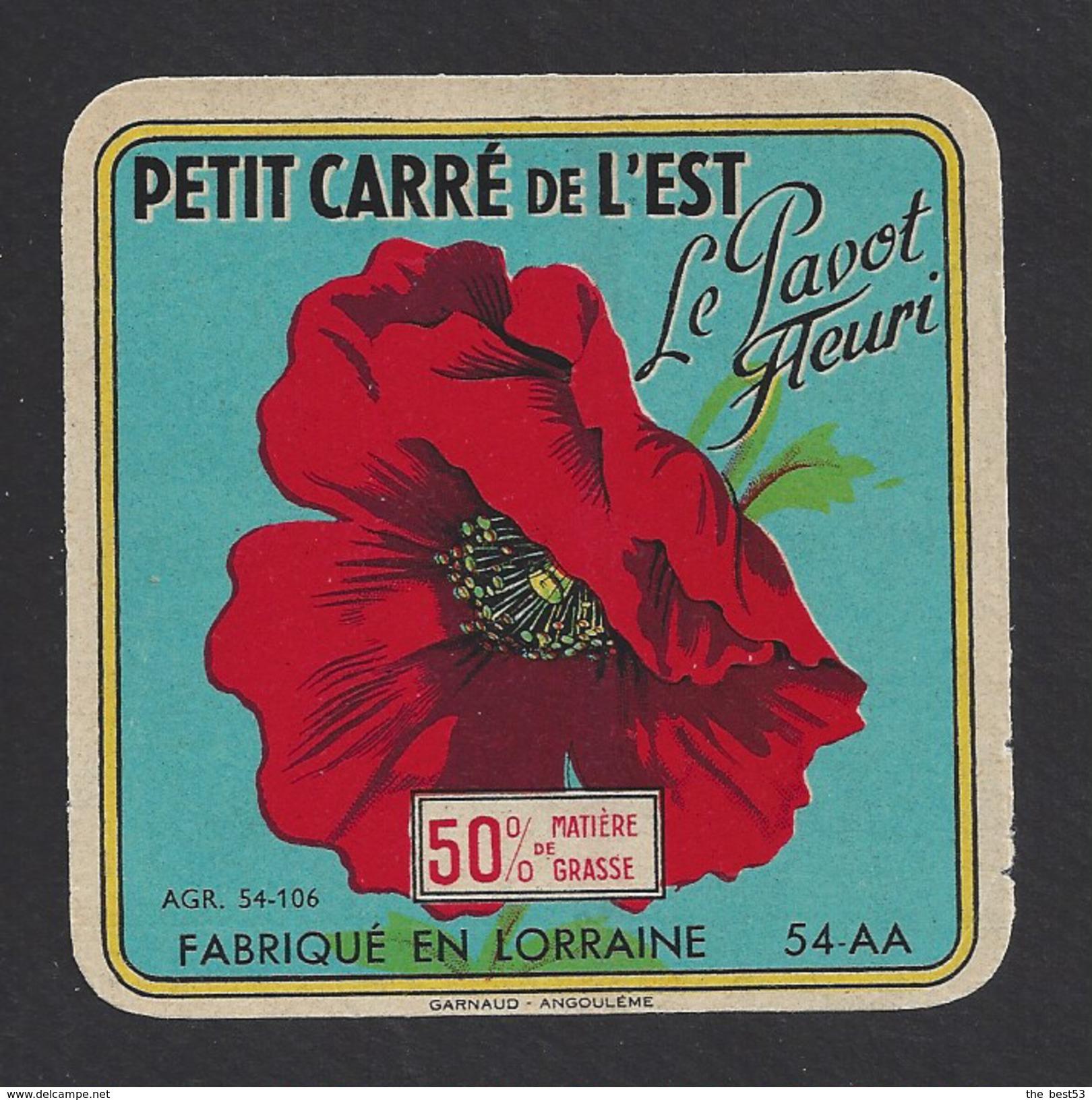Etiquette De Fromage Petit Carré De L'Est  -  Le Pavot Fleuri   -   Laiterie Coopérative De Vézelise  (54 AA) - Fromage