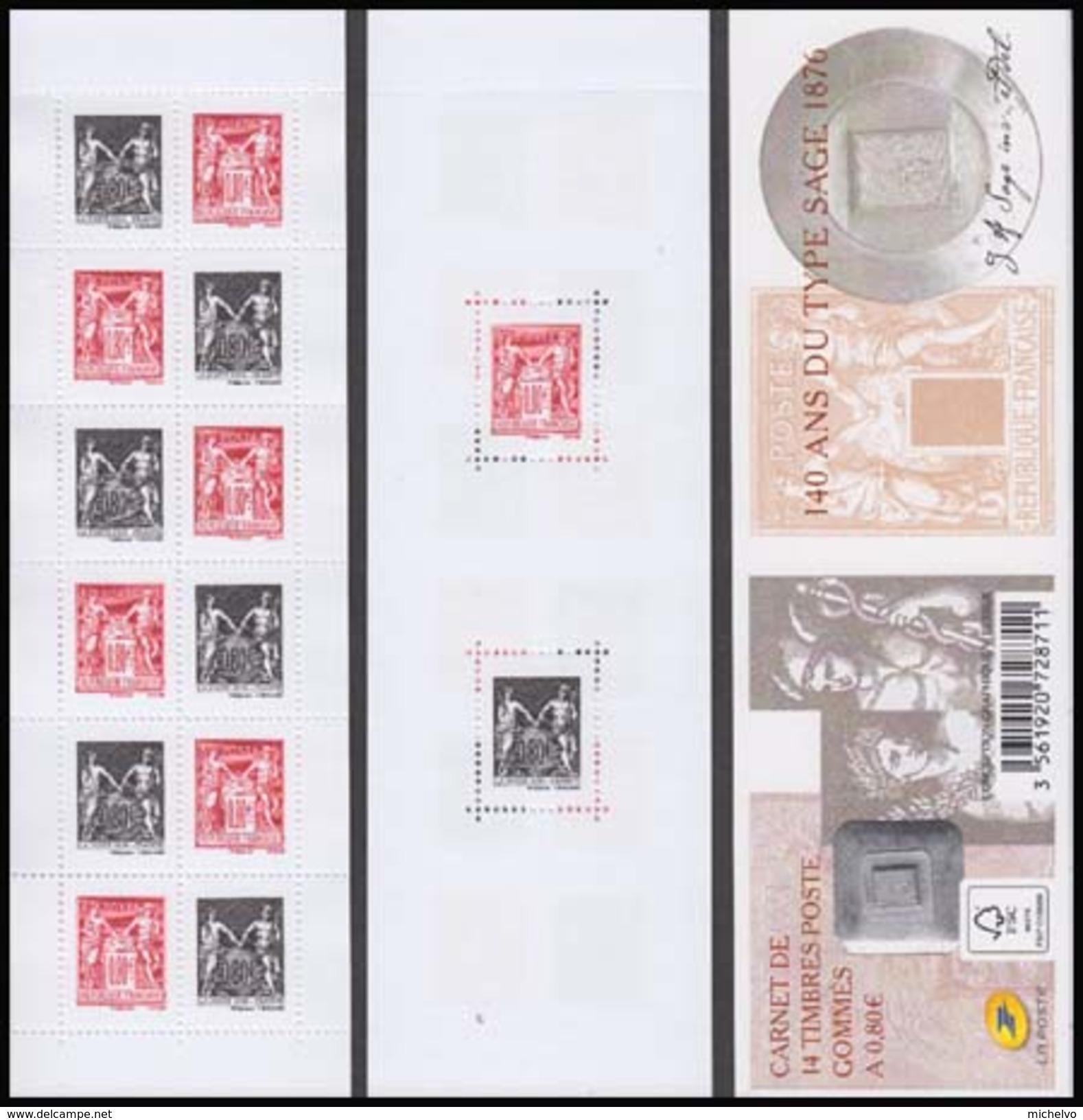 France 2016 - Yv N° C1523 ** - Carnet Gommé - Salon Philatélique D´automne - 140 Ans Du Type Sage - Unused Stamps