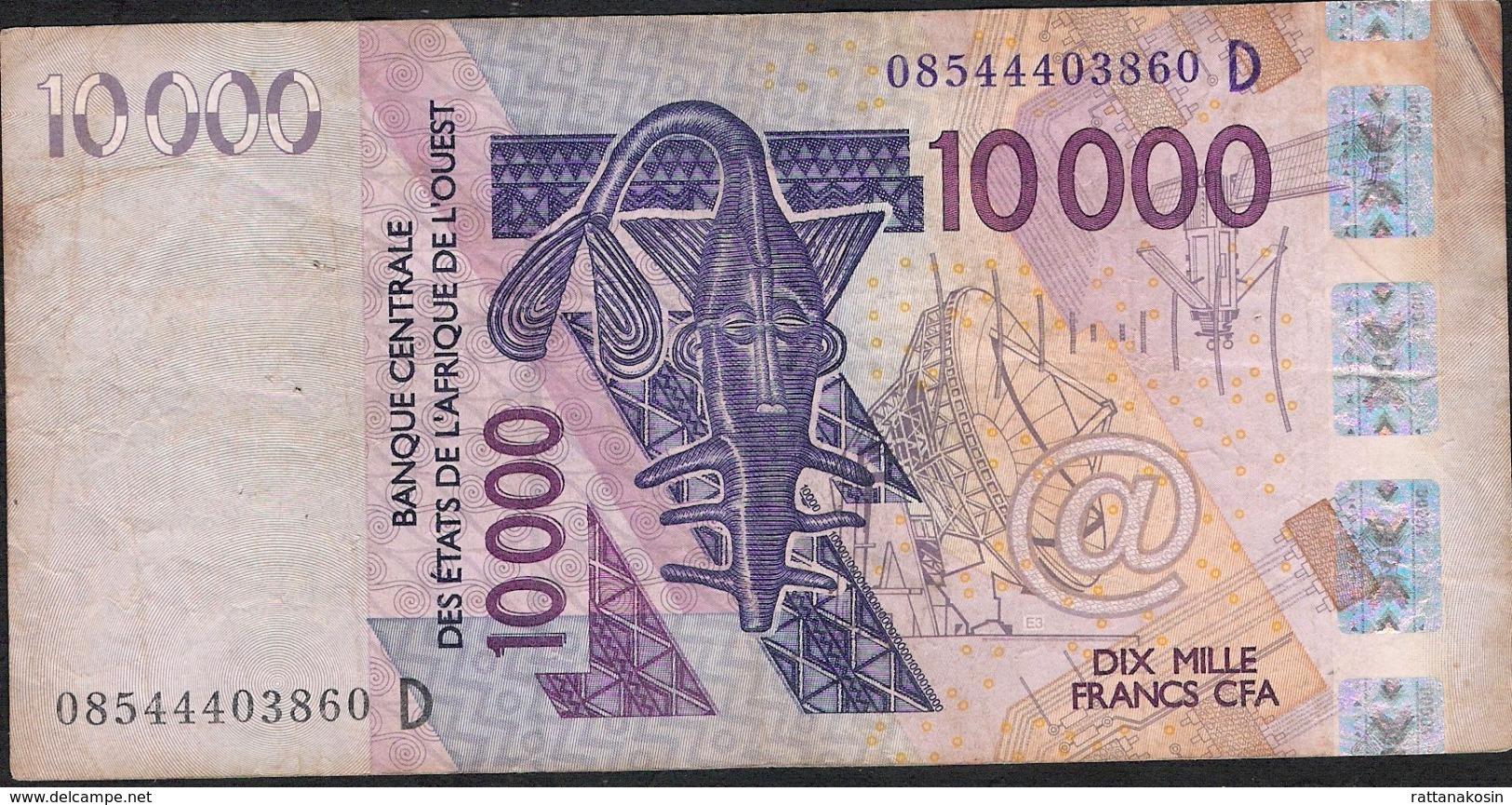 WA.S. Letter D = Mali P418Df 10000 Francs (20)08 FINE Has 7 P.h. ! - West African States