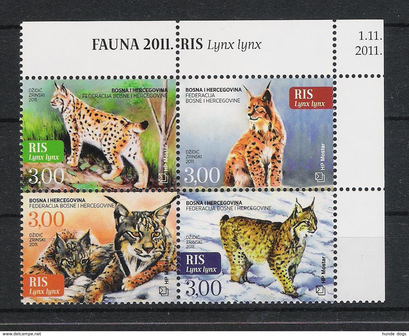 Bosnien-Herzegowina Mostar Bosnia 2011 Mi#  327 - 330  ** MNH Luchs Lynx Wildcats Fauna - Bosnien-Herzegowina