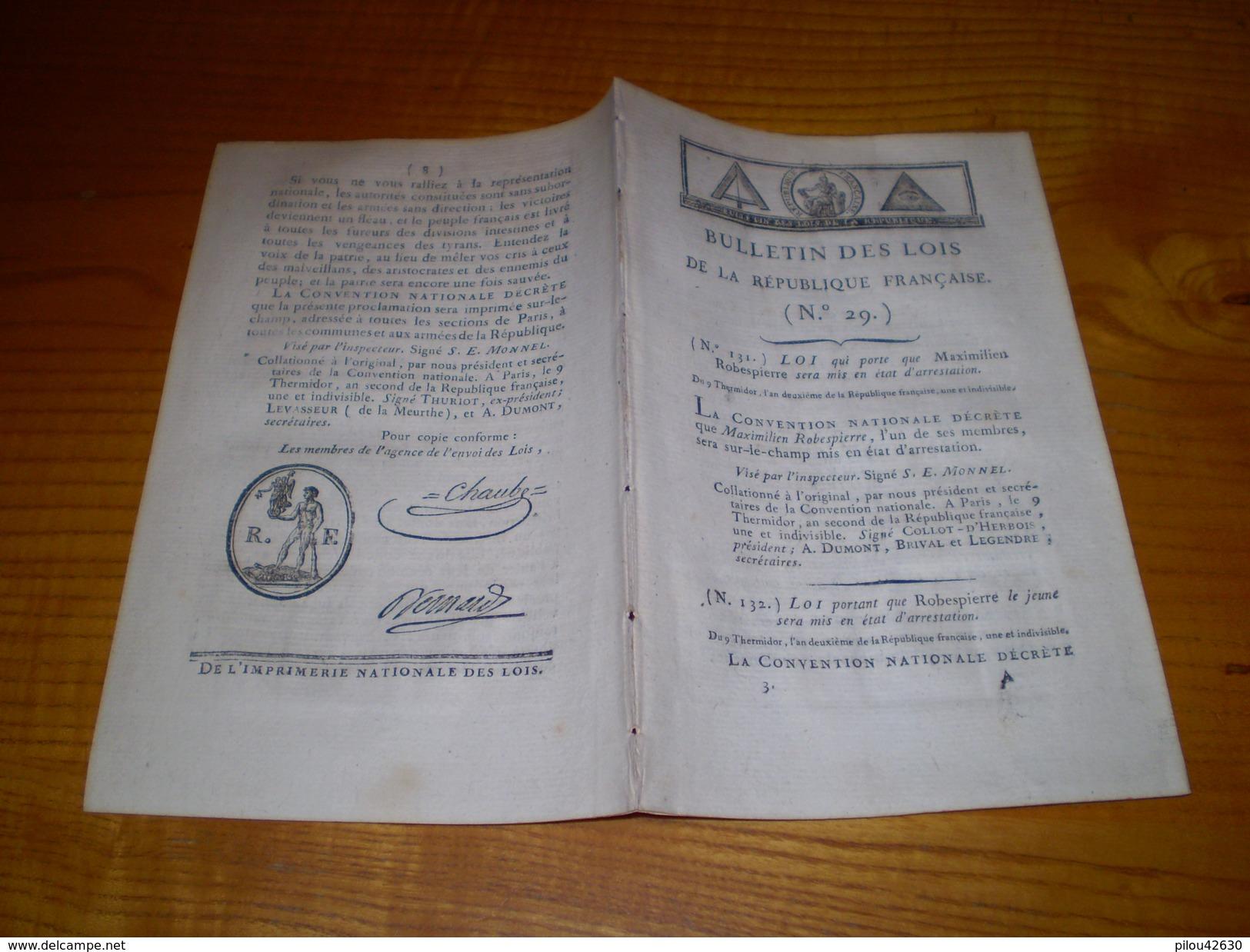 Lois An 2: Mise En Accusation De Robespierre,Couthon,Lebas 9 Thermidor, Gillotiné Le 10. Dumas Tribunal Révolutionnaire - Decrees & Laws