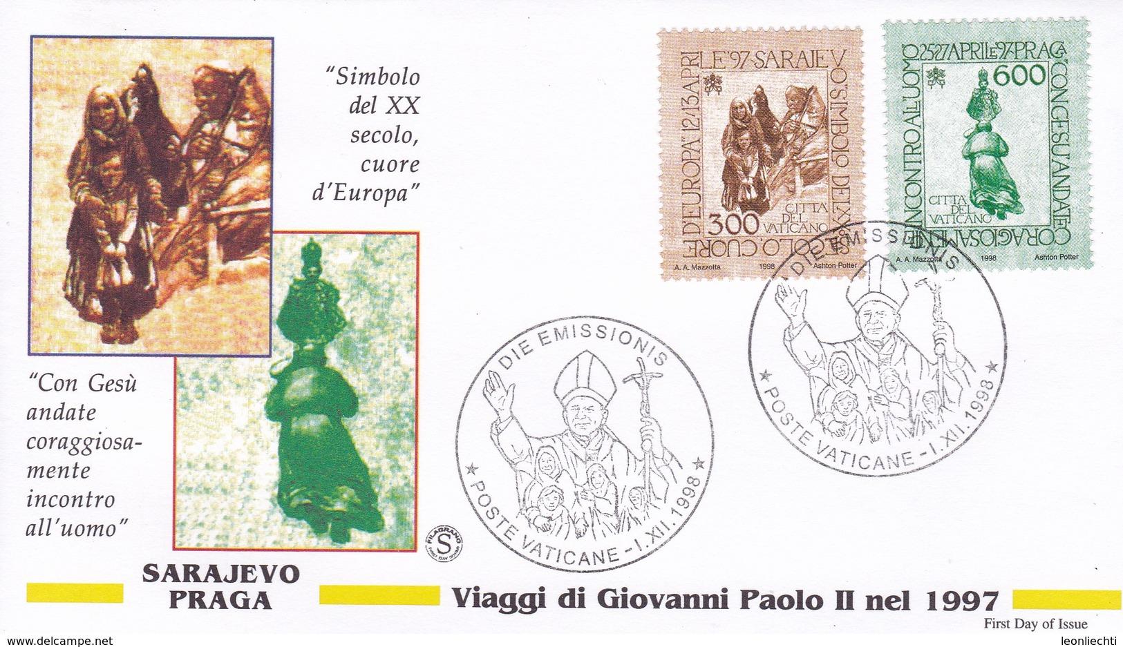 Vatikan, 1998.  Mi: 1263 + 1264. Papstreisen  Sarajewo + Prag - Lettres & Documents