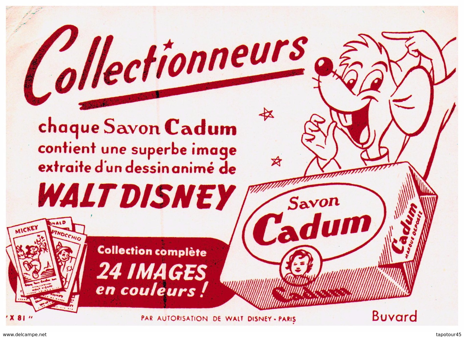 S Ca/Buvard Savon Cadum Format  16 X 11)  (N= 1) - Buvards, Protège-cahiers Illustrés