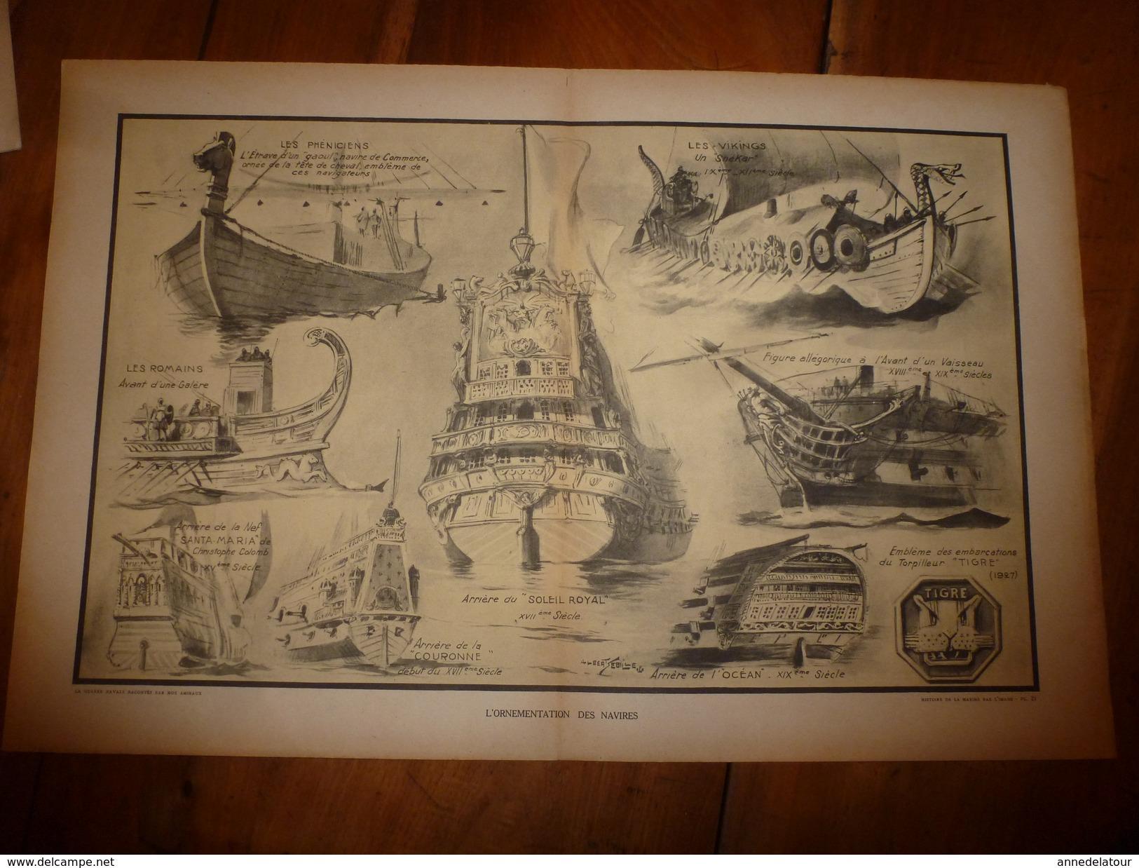 La GUERRE NAVALE ,Ornementations Des Navires (Phéniciens,Vikings,Romains Espagnols,Français).(dessins Albert Sébille) - Boats