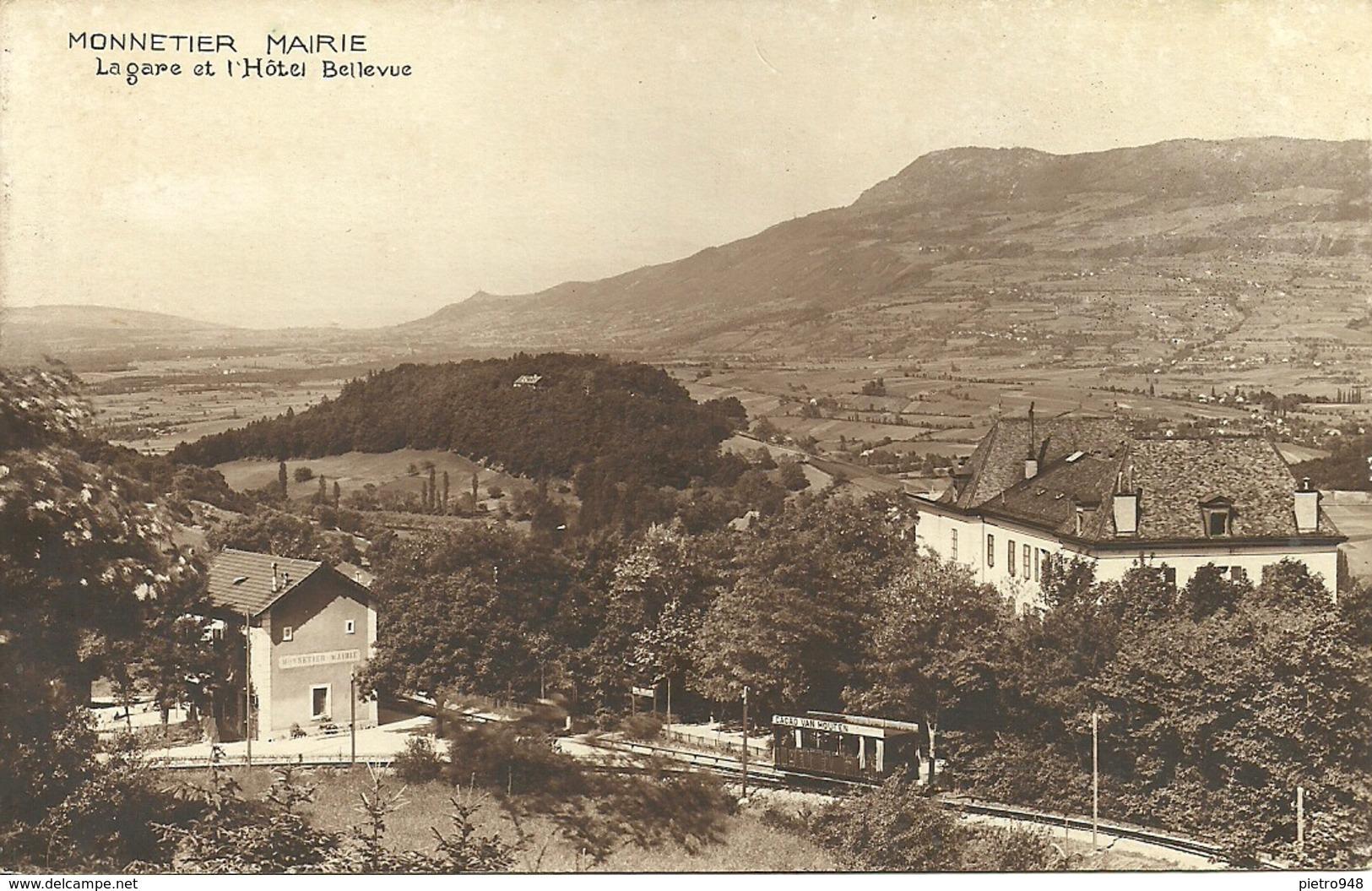 Monnetier Mairie (Haute Savoie, France) La Gare Avec Le Train Et L'Hotel Bellevue - Autres Communes