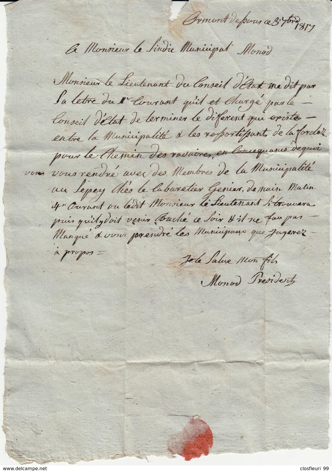 Lettre Pré-philatélique Des Ormonts Dessous, Mr Le Sindic Municipal 3.9.1819 - Autographs
