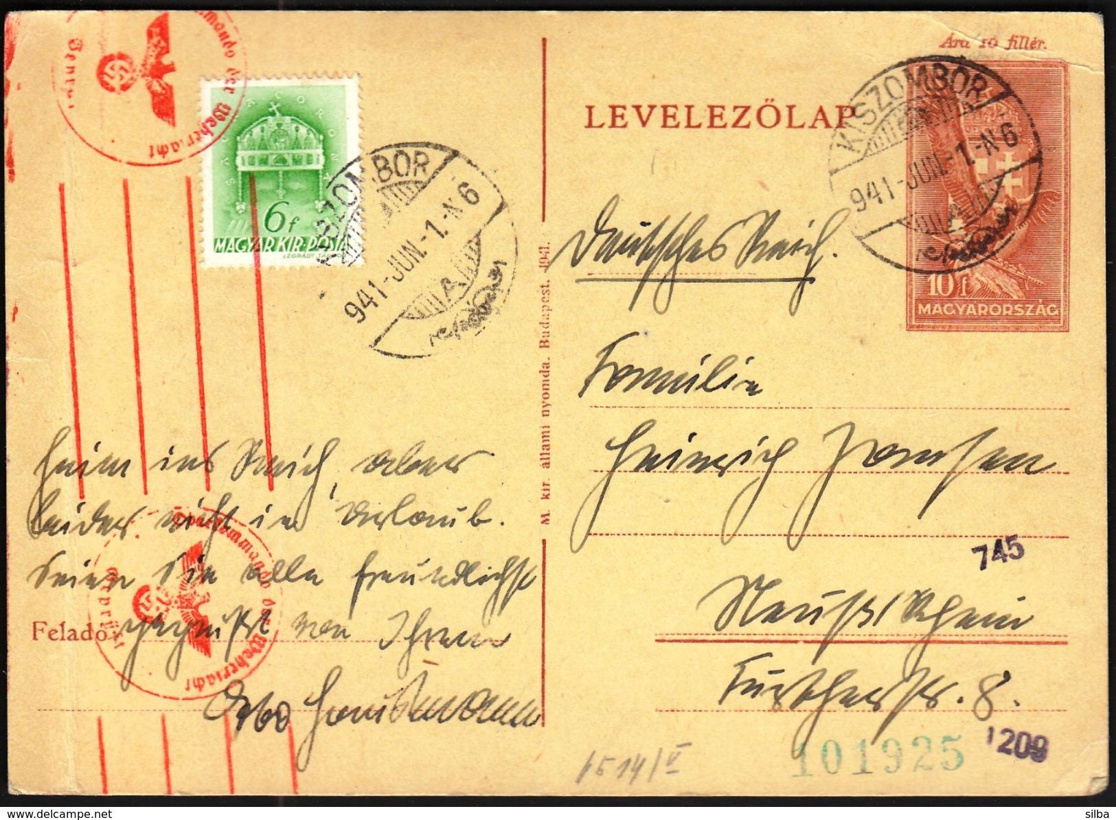 Hungary Kiszombor 1941 / WW2 / CENSORSHIP - ZENSUR / Obercomando Der Wehrmacht - Cartas