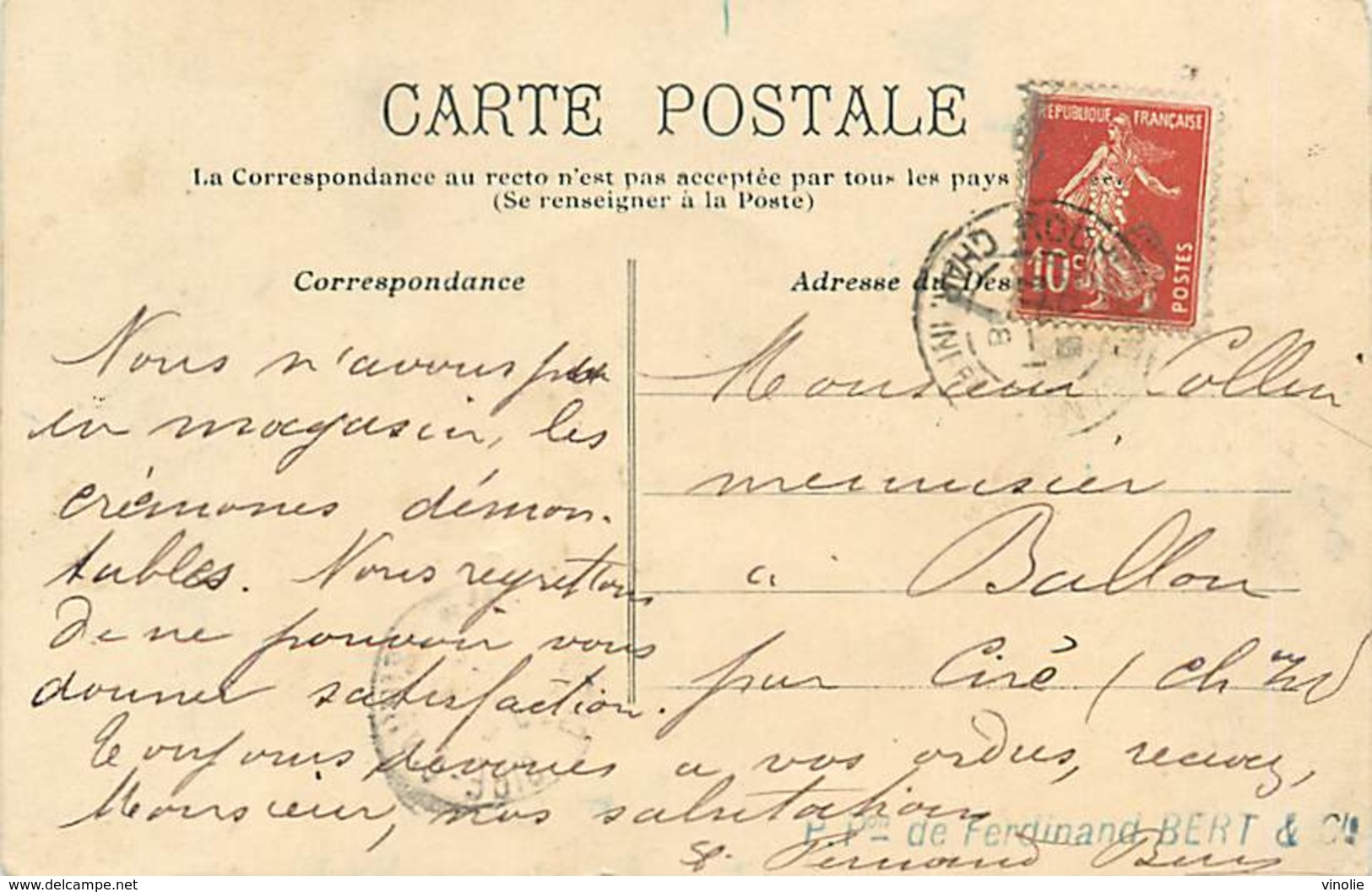 A-17-278 : ROCHEFORT SUR MER. CLOUTERIE ET CARROSSERIE  FERDINAND BERT. - Rochefort