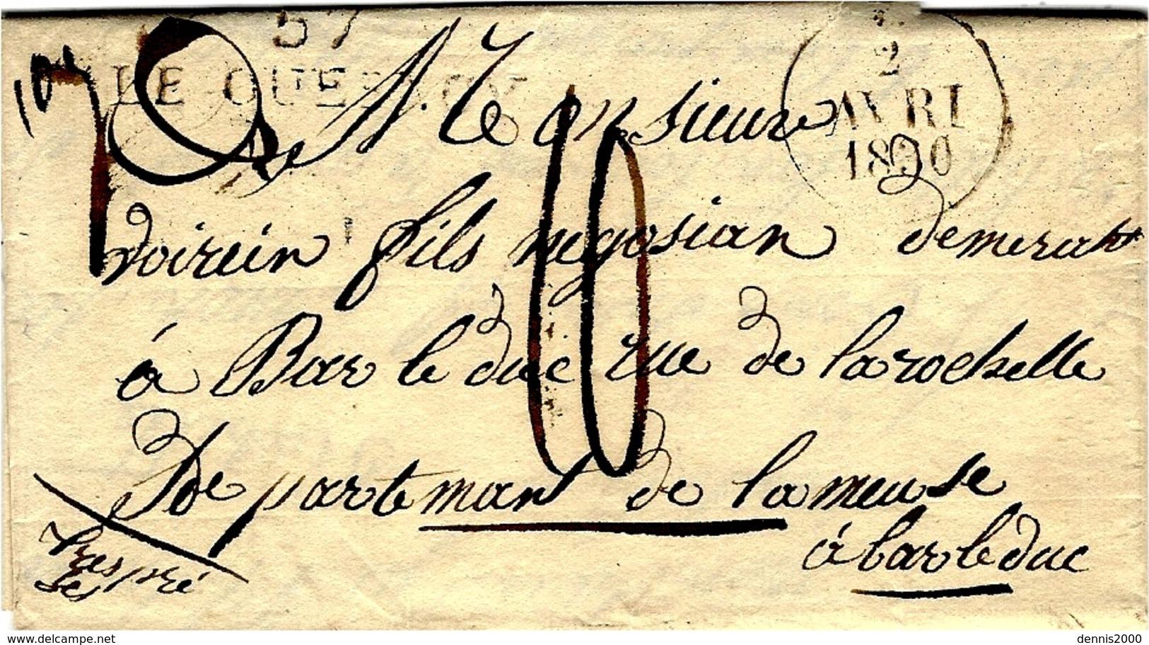 1830- Lettre De 57 / LE QUESNOY  ( Nord )  44 X 11 Mm Noir  Taxe 10 D. Pour Bar-le-Duc - Marcophilie (Lettres)