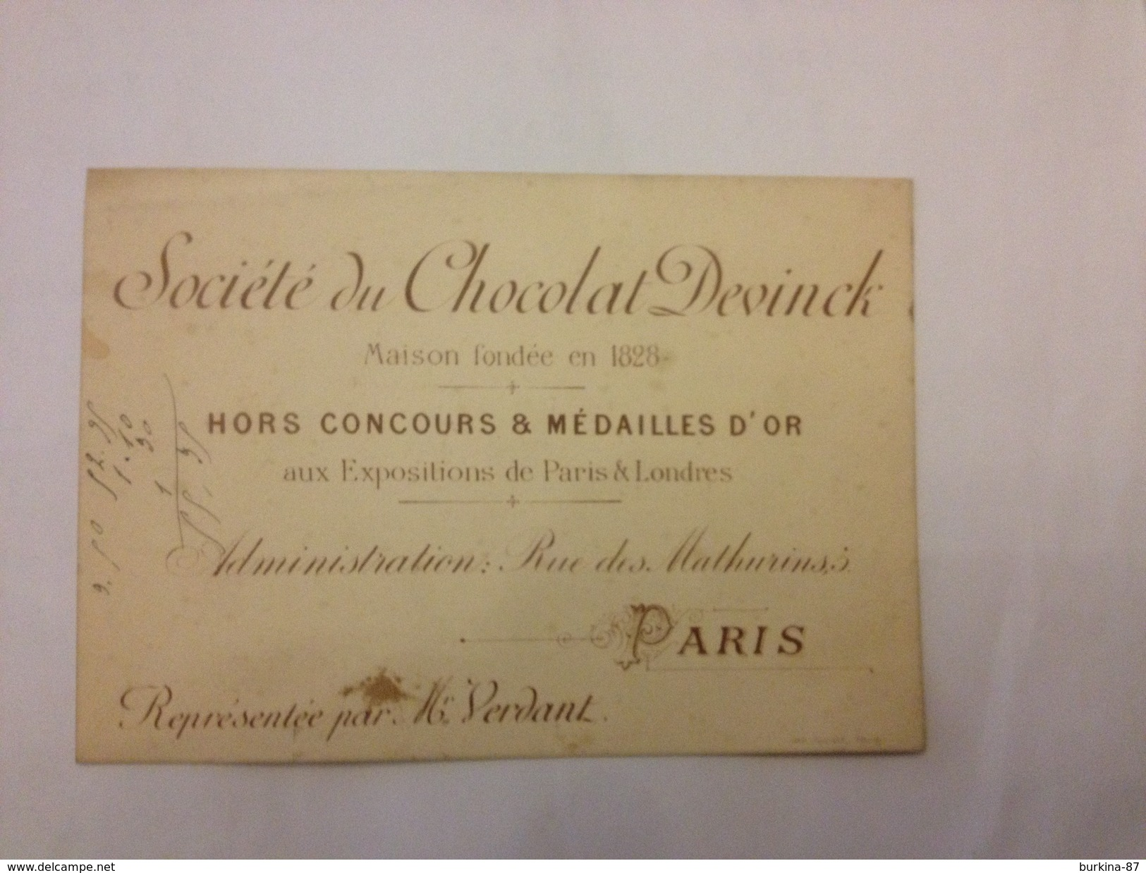 Carte Publicitaire, Société Du Chocolat,  DEVINCK, Vers 1890 - Reclame
