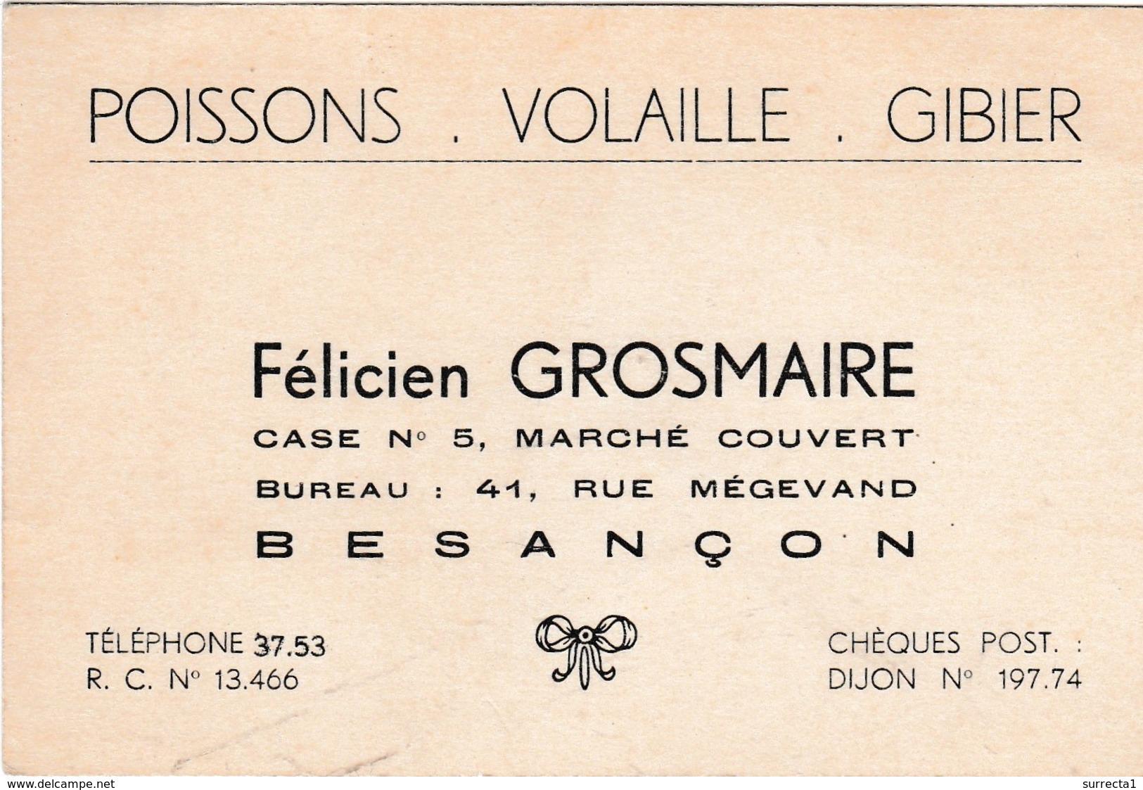 Carte Commerciale GROSMAIRE / 25 Besançon / Doubs / Poissons Volaille Gibier - Cartes