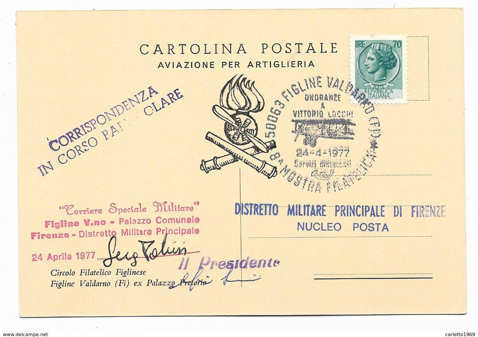 FIGLINE VALDARNO MOSTRA FILATELICA 1977 AVIAZIONE PER ARTIGLIERIA VIAGGIATA FG - Firenze