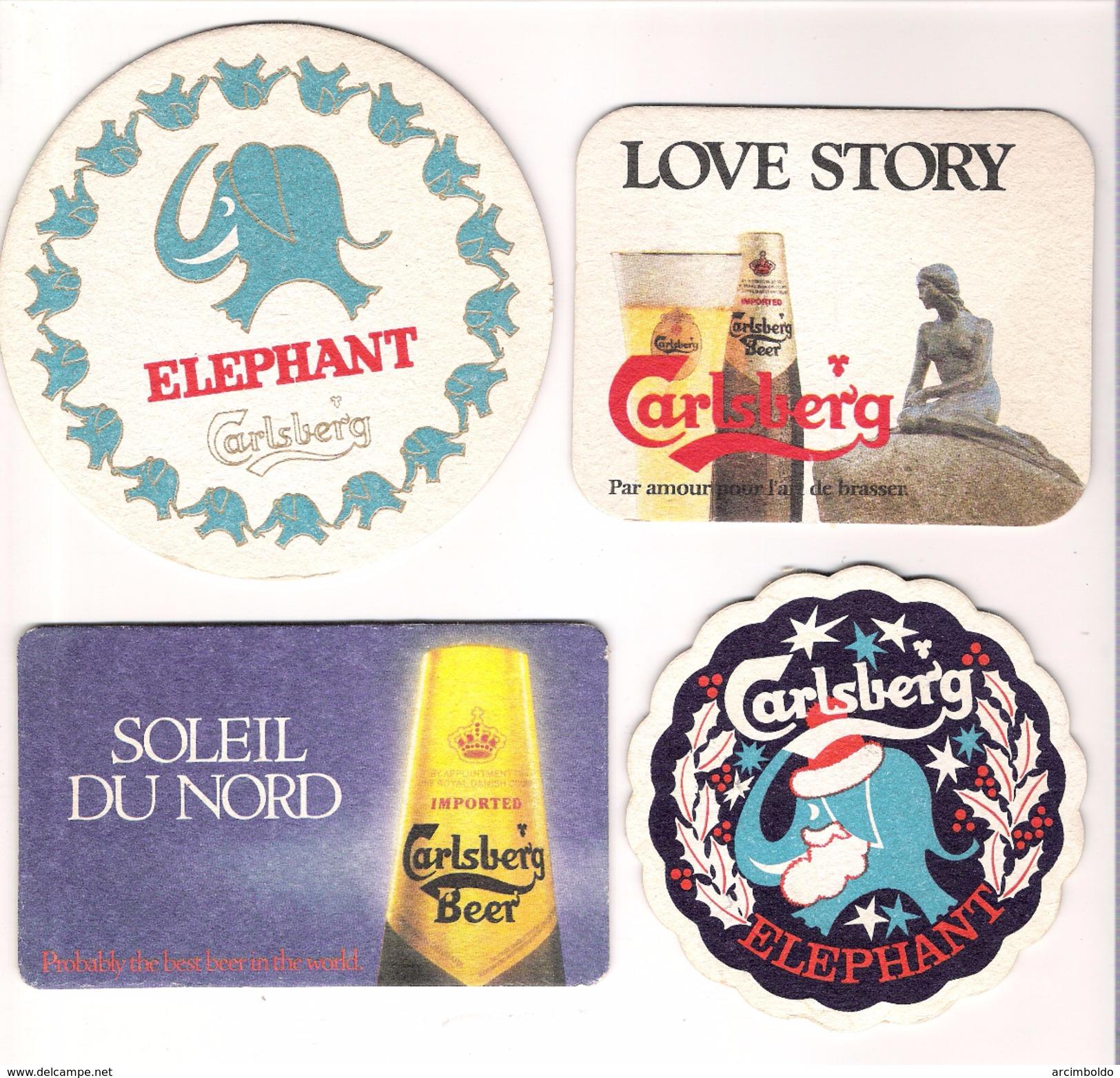 Lot De 7 Sous-bocks Carlsberg - Tous Différents (Elephant, Noël, Christmas, Happy New Year, Pâques, Easter) - Sous-bocks