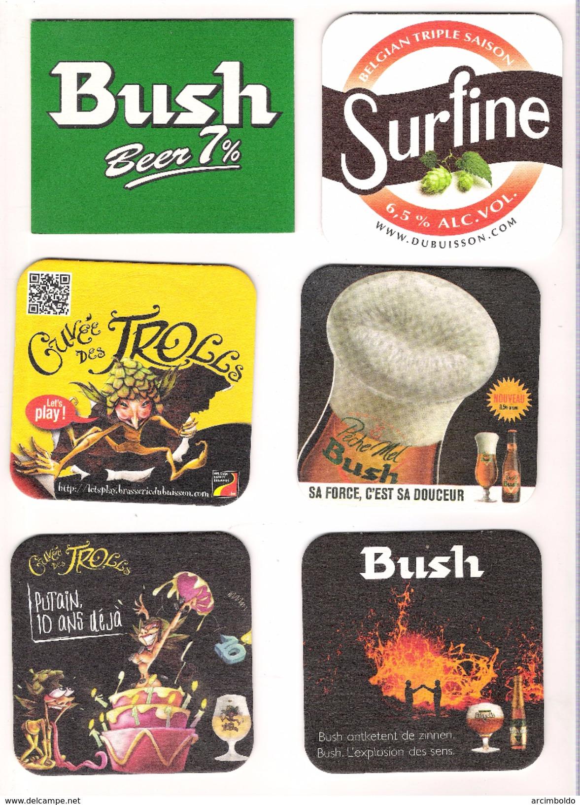 Lot De 16 Sous-bocks Dubuisson - Tous Différents (Bush Noël, Blonde, Pêche Mel, 7%, Surfine, Cuvée Des Trolls, Ambrée) - Sous-bocks