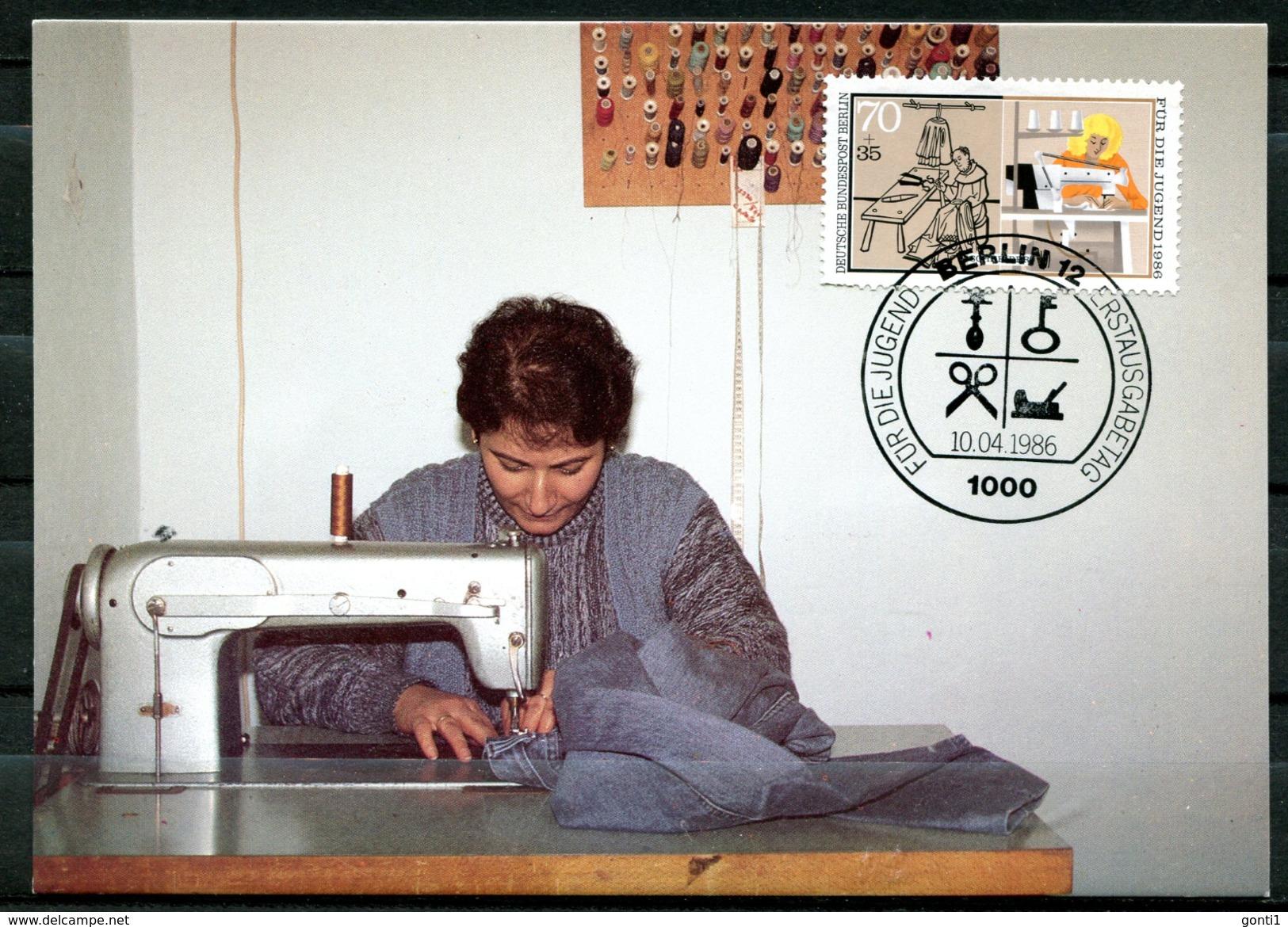"Germany,Westberlin 1986 Maxicart,MC Mi.Nr.756""Handwerksberufe,Schneider,Näherin,Jugendmarke"" 1MK Used - Fabriken Und Industrien"