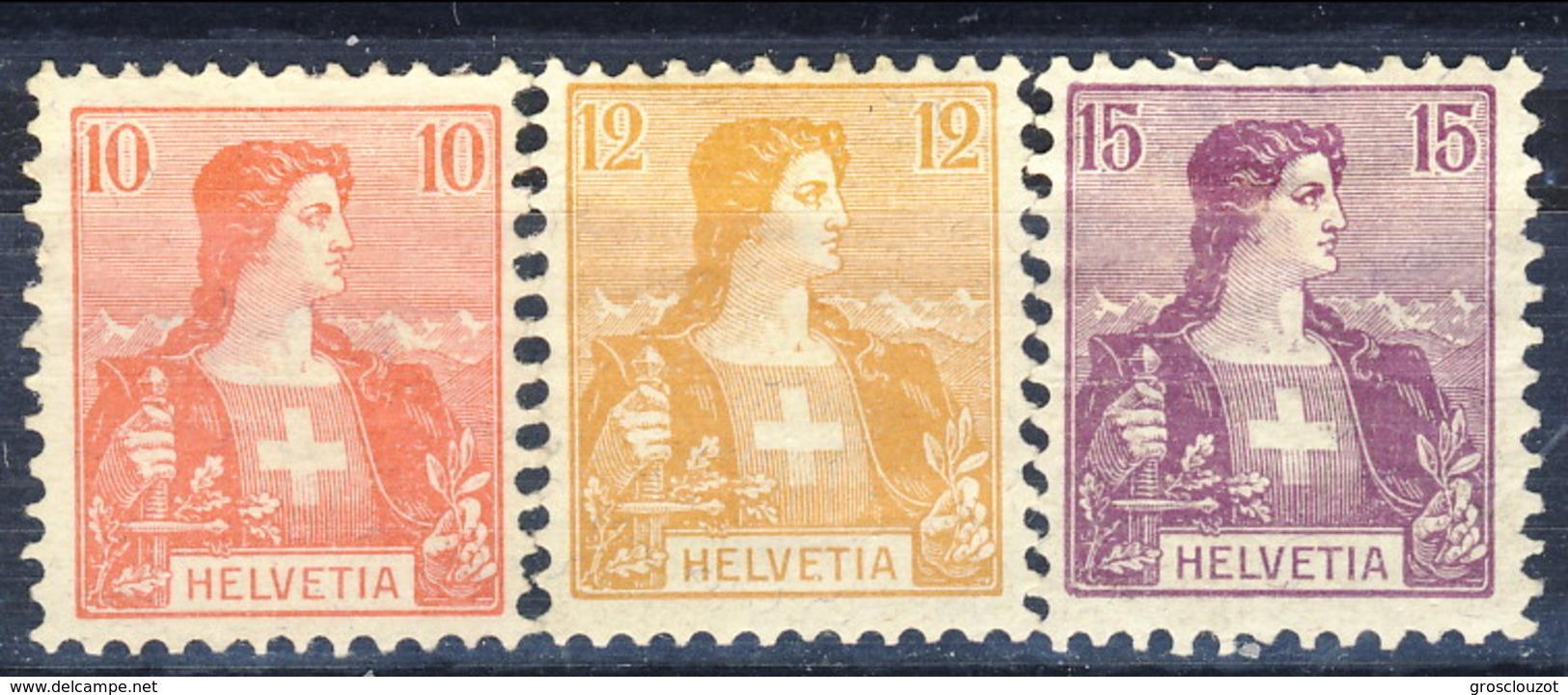 Svizzera 1907 N. 116-118 MH Cat. € 8 - Nuovi