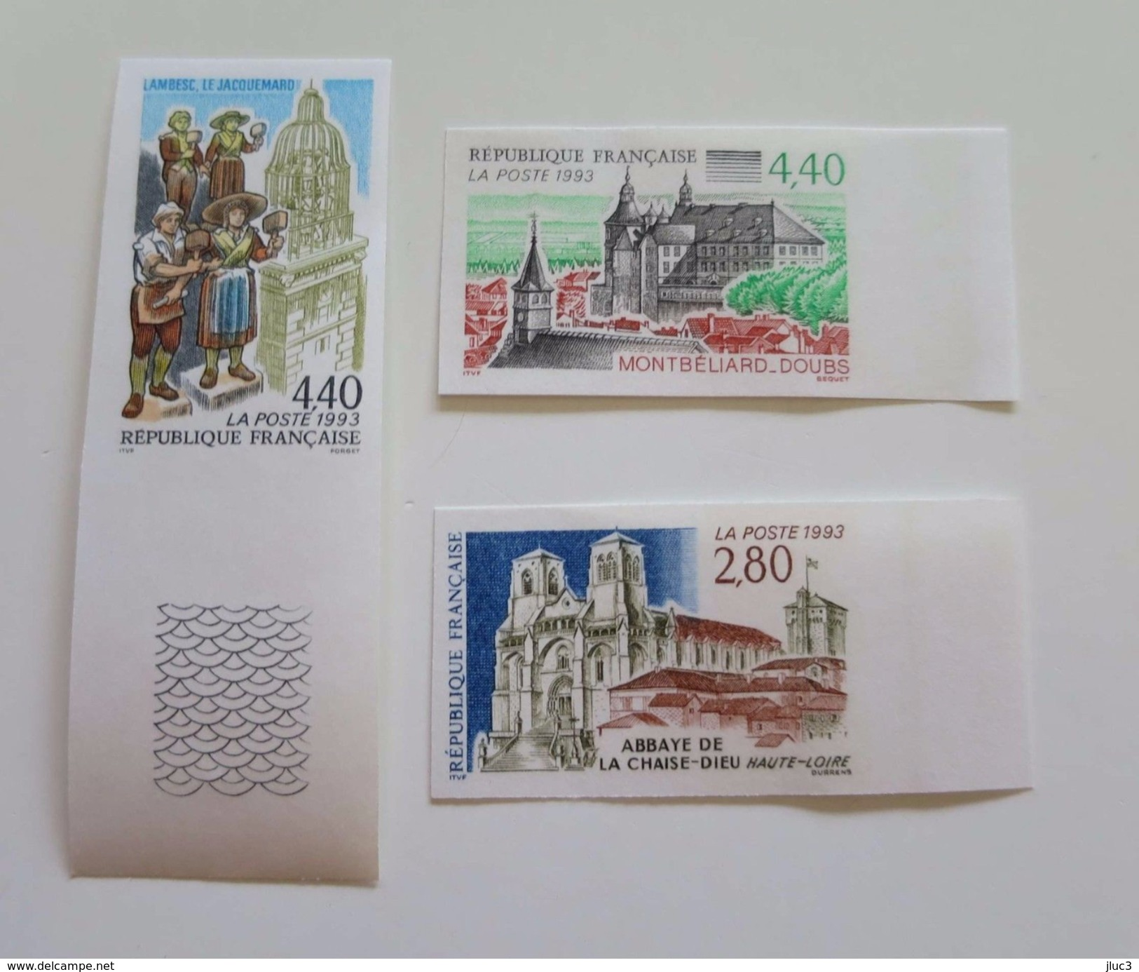 ZFRn2825-7a - RARE - FRANCE 1993 - Superbe Série Touristique - N°2825/27a - Non Dentelés Neufs** - Qualité LUXE - Non Dentellati