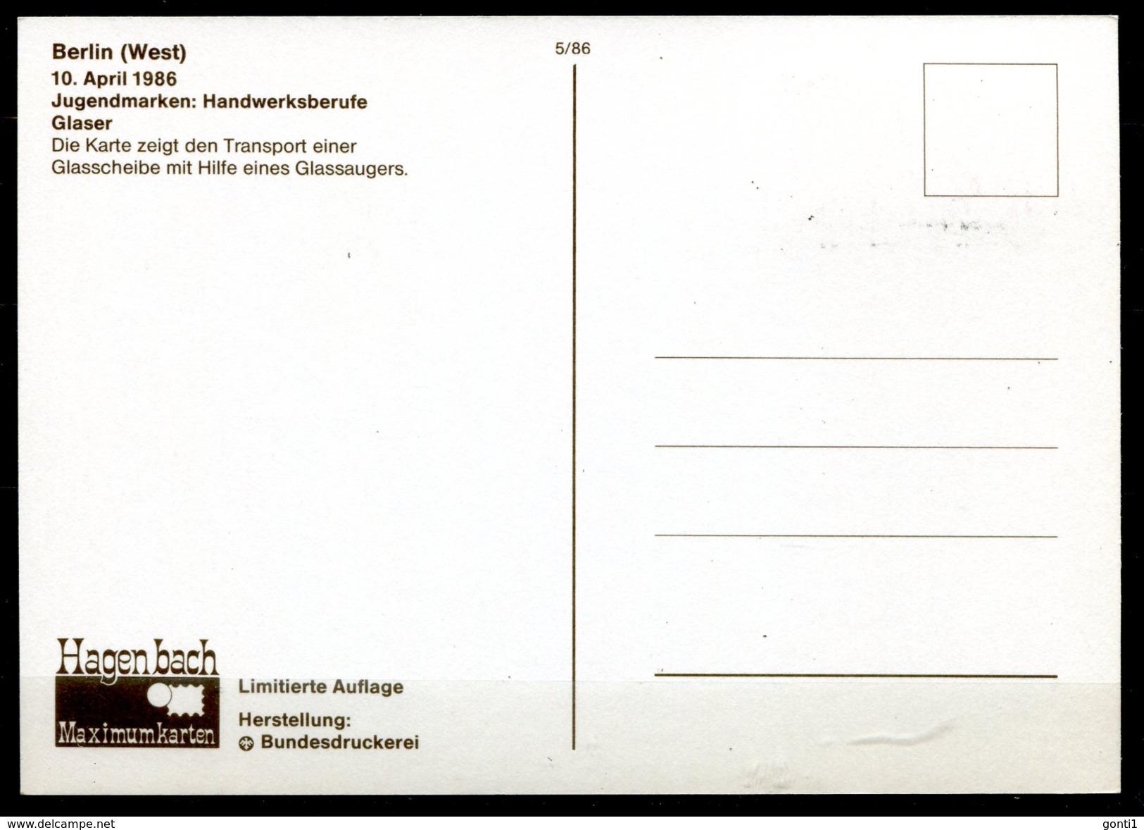 "Germany,Westberlin 1986 Maxicart,MC Mi.Nr.754""Handwerksberufe,Glaser,Fenstermacher,Jugendmarke"" 1MK Used - Factories & Industries"