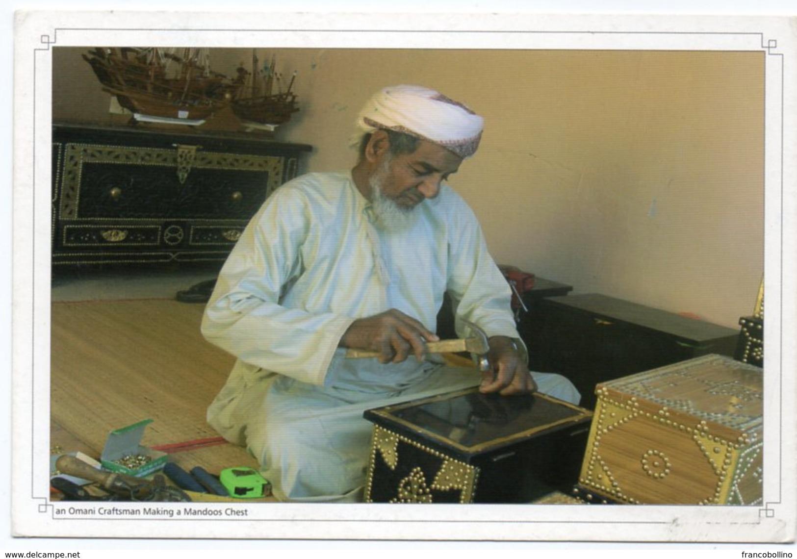 OMAN - AN OMANI CRAFTSMAN MAKING A MANDOOS CHEST - Oman