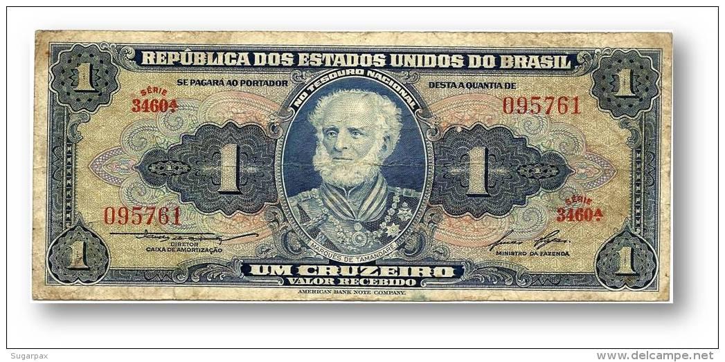 BRASIL - 1 CRUZEIRO - ND (1958 ) - P 150.d - Serie 3460.ª - Sign. 6 - W/o Estampa ( 1A ) - Marquês De Tamandaré - Brazil