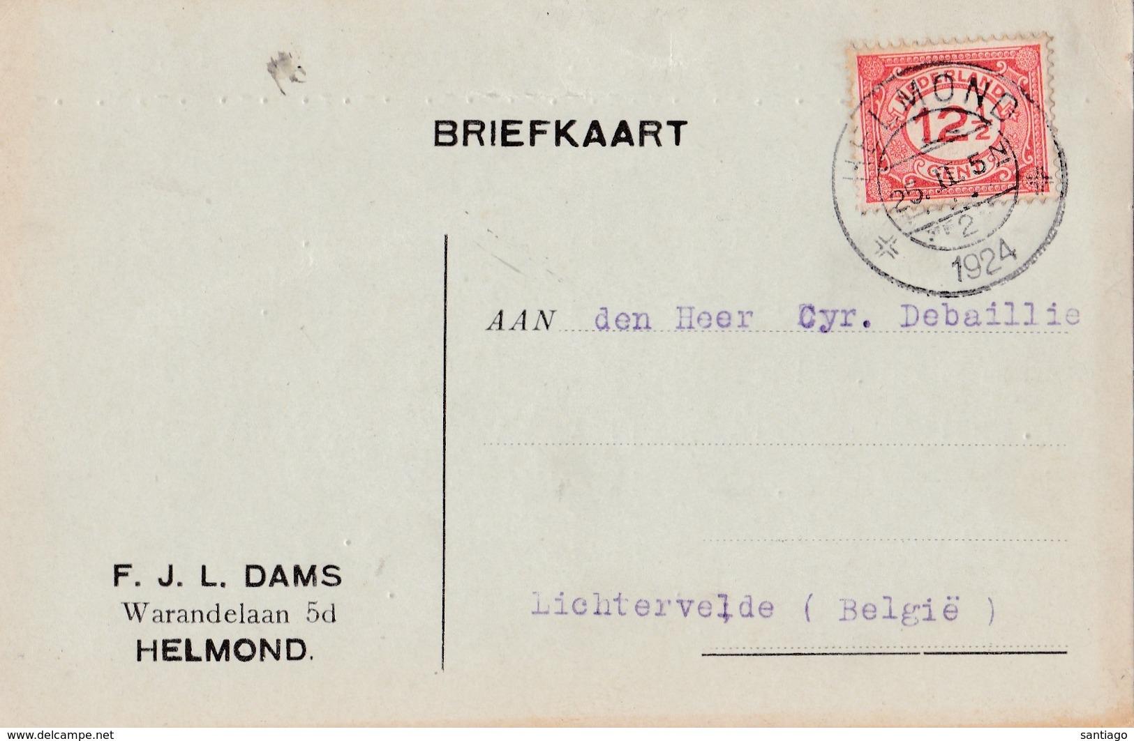Briefkaart Van HELMOND => LICHTERVEDE   Met Nr  Yv 104 ( NVPH 108 )  ( 1924 ) - Lettres & Documents