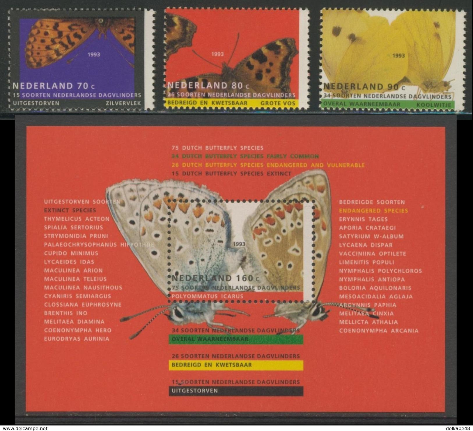 Nederland Netherlands Pays Bas 1993 Mi 1470 /2 + B 38 ** Butterflies / Schmetterlinge / Papillons / Vlinders - Vlinders