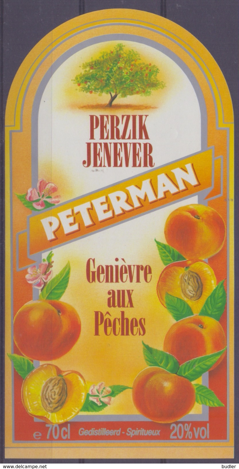 BELGIË/BELGIQUE : ## PETERMAN ## Perzikjenever / Genièvre Aux Pêches:  BRUGGEMAN,PERZIK,PÊCHE,PEACH, - Labels