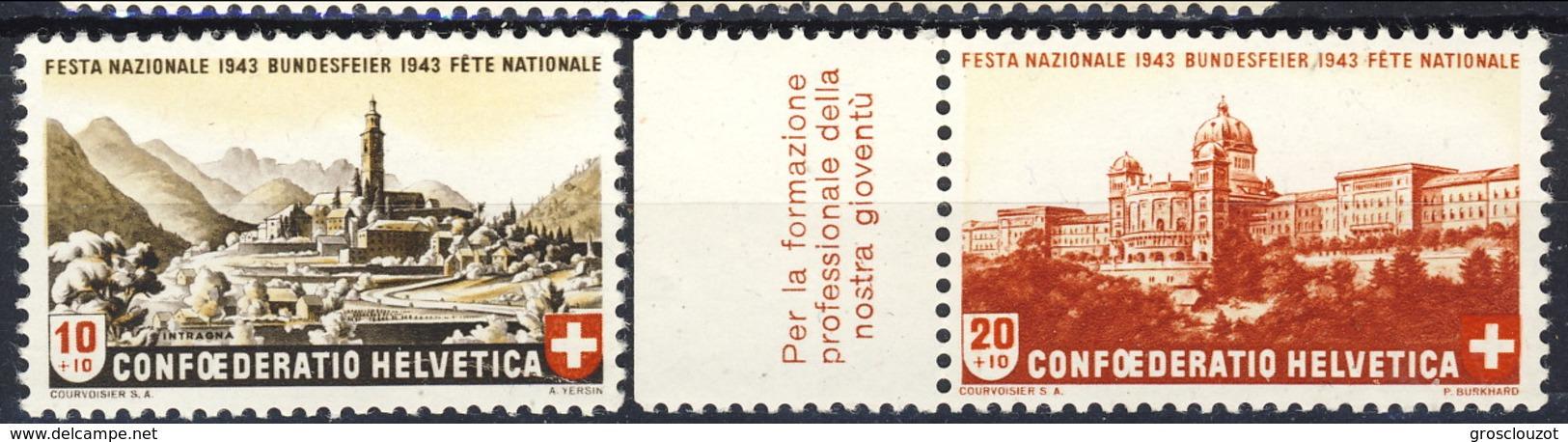 Svizzera Pro Patria 1943 Serie N. 385-386 MNH Cat. € 2 - Nuovi