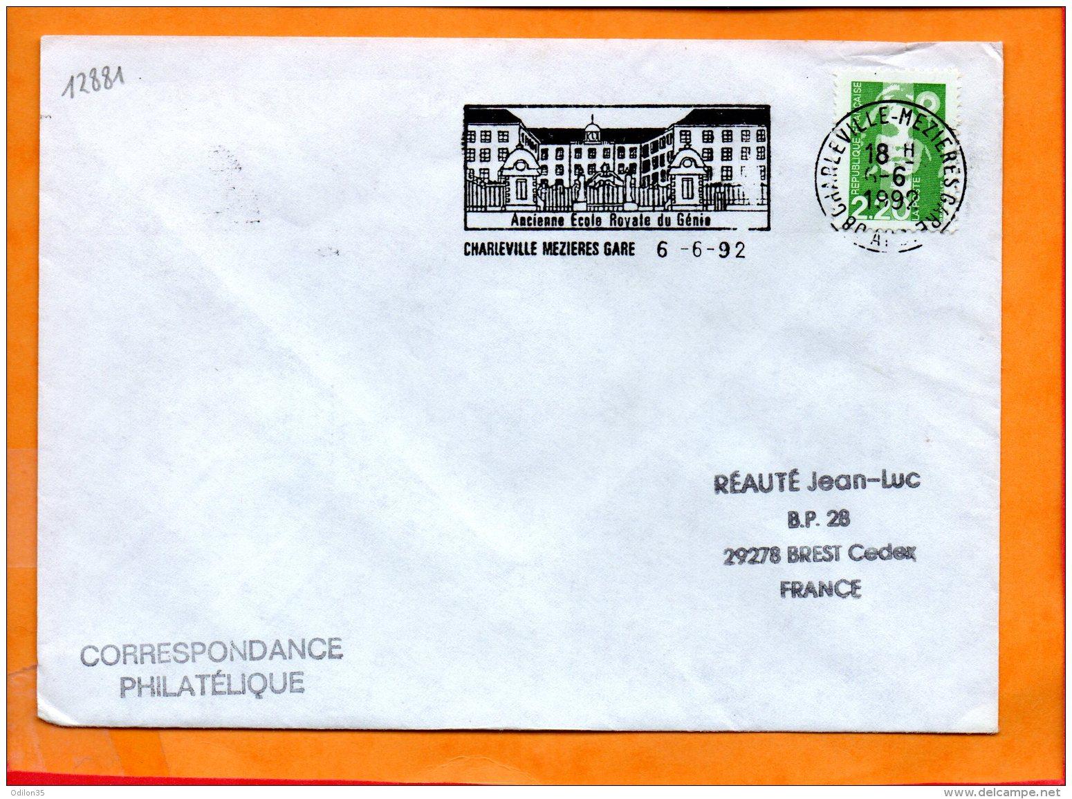 """ARDENNES, Charleville-Mézières, Flamme SCOTEM N°12881, """"ancienne Ecole Royale Du Génie"""" - Marcophilie (Lettres)"""