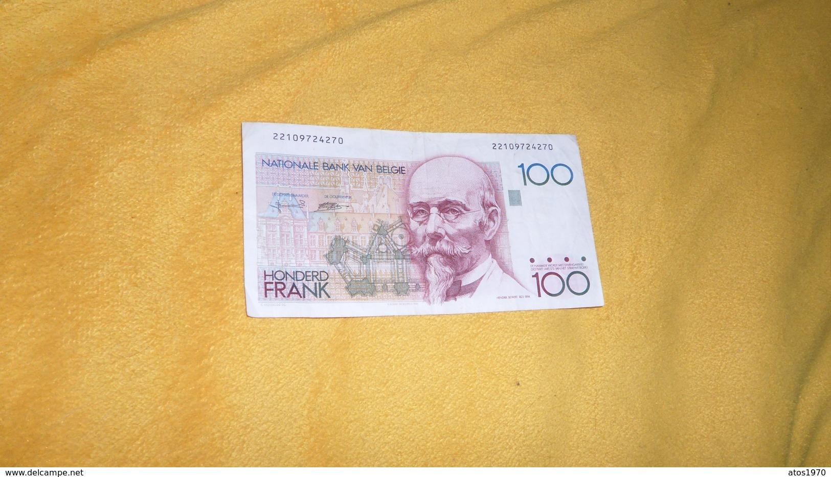 BILLET DE 100 FRANCS / HONDERD FRANK DATE ?. / BELGIQUE N°22109724270. - Altri