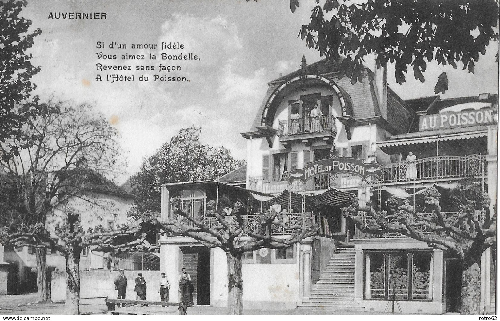 AUVERNIER → Hôtel Du Poisson Mit Touristen Anno 1910 - NE Neuenburg