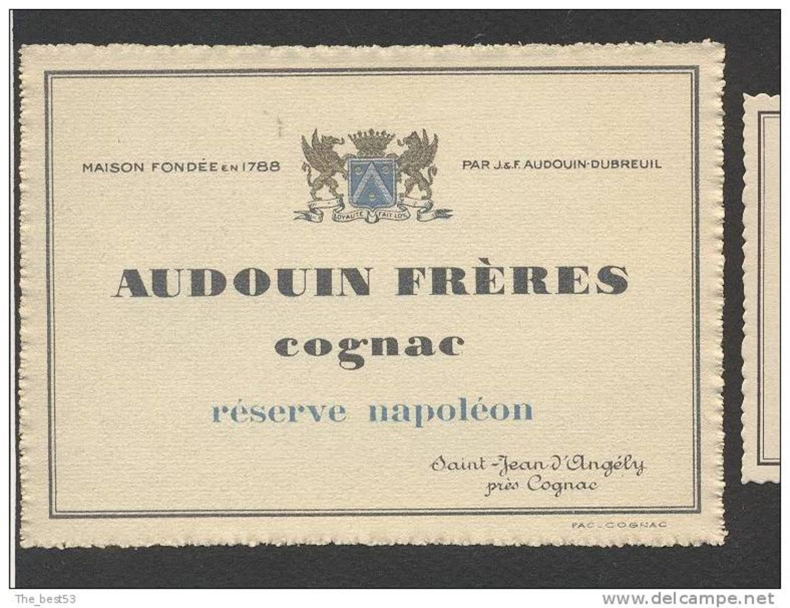 Etiquette De Cognac Réserve Napoléon   -  Audouin Fres  à Saint Jean D´Angély - Labels