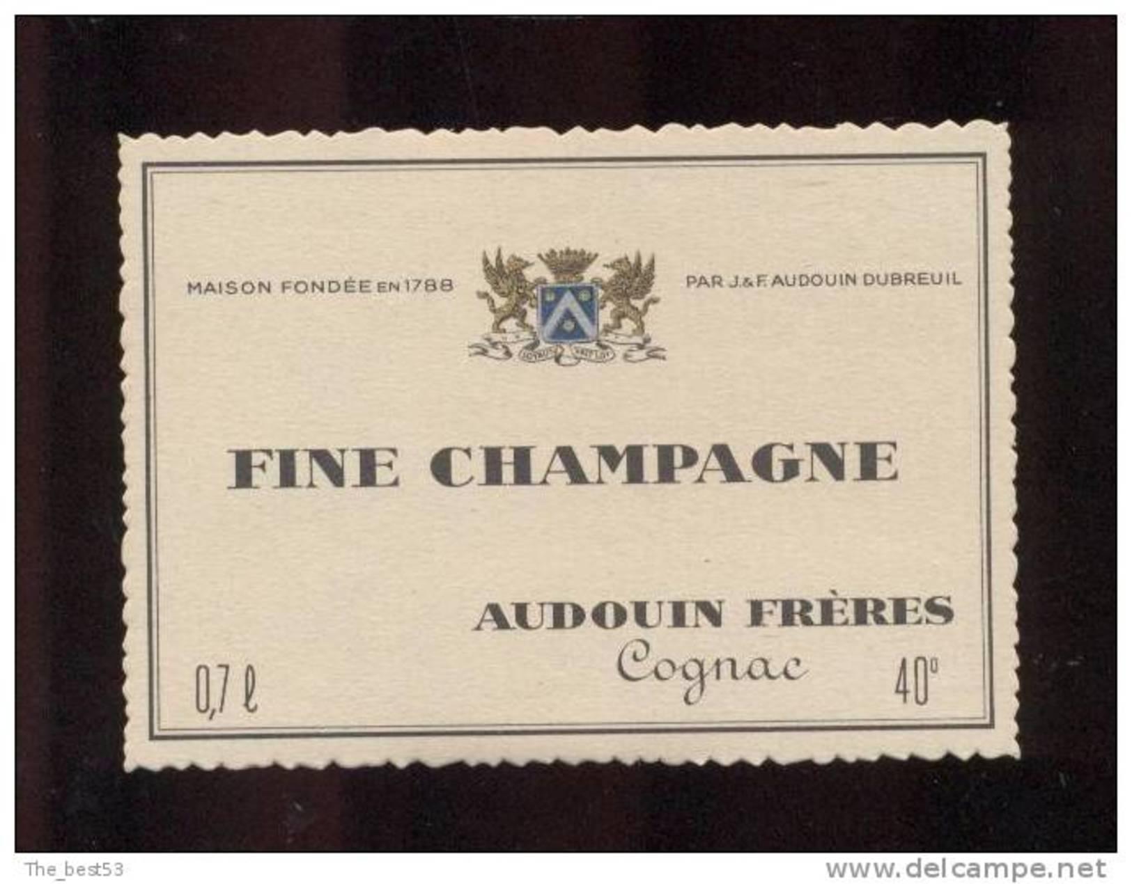 Etiquette De   Fine  Champagne  -  Audouin  à  Saint Jean D´Angély  (17)  -  9.3 X 6.7 Cm - Labels