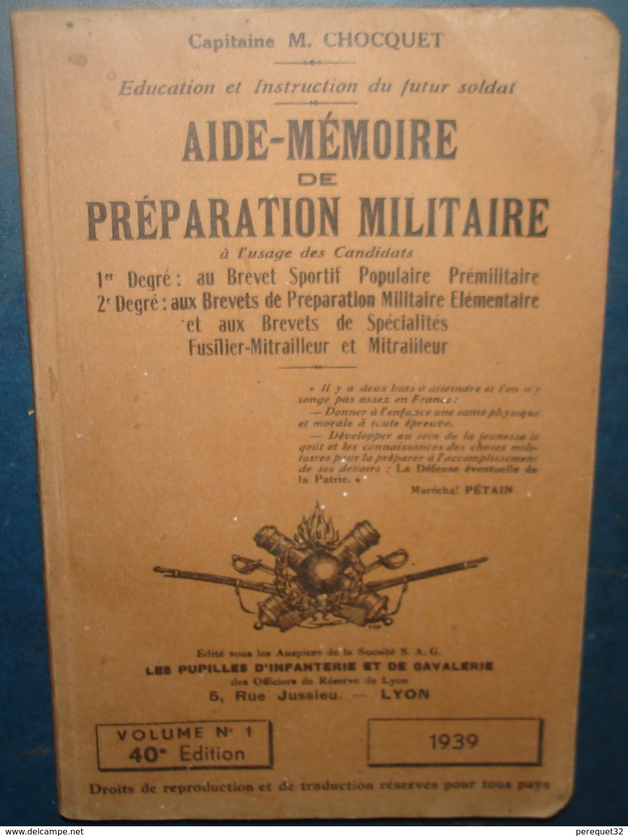 AIDE MEMOIRE DE PREPARATION MILITAIRE.1939 - Libri