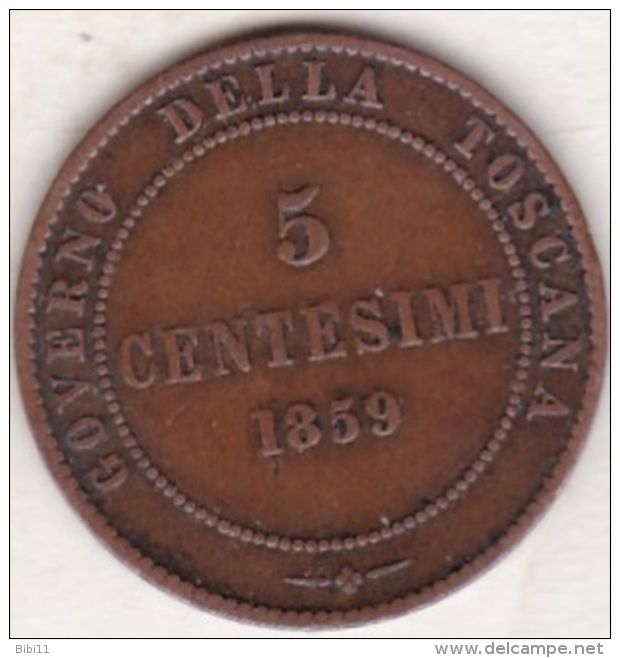 Governo Della Toscana. 5 Centesimi 1859. Vittorio Emanuele Re Eletto - Monnaies Régionales