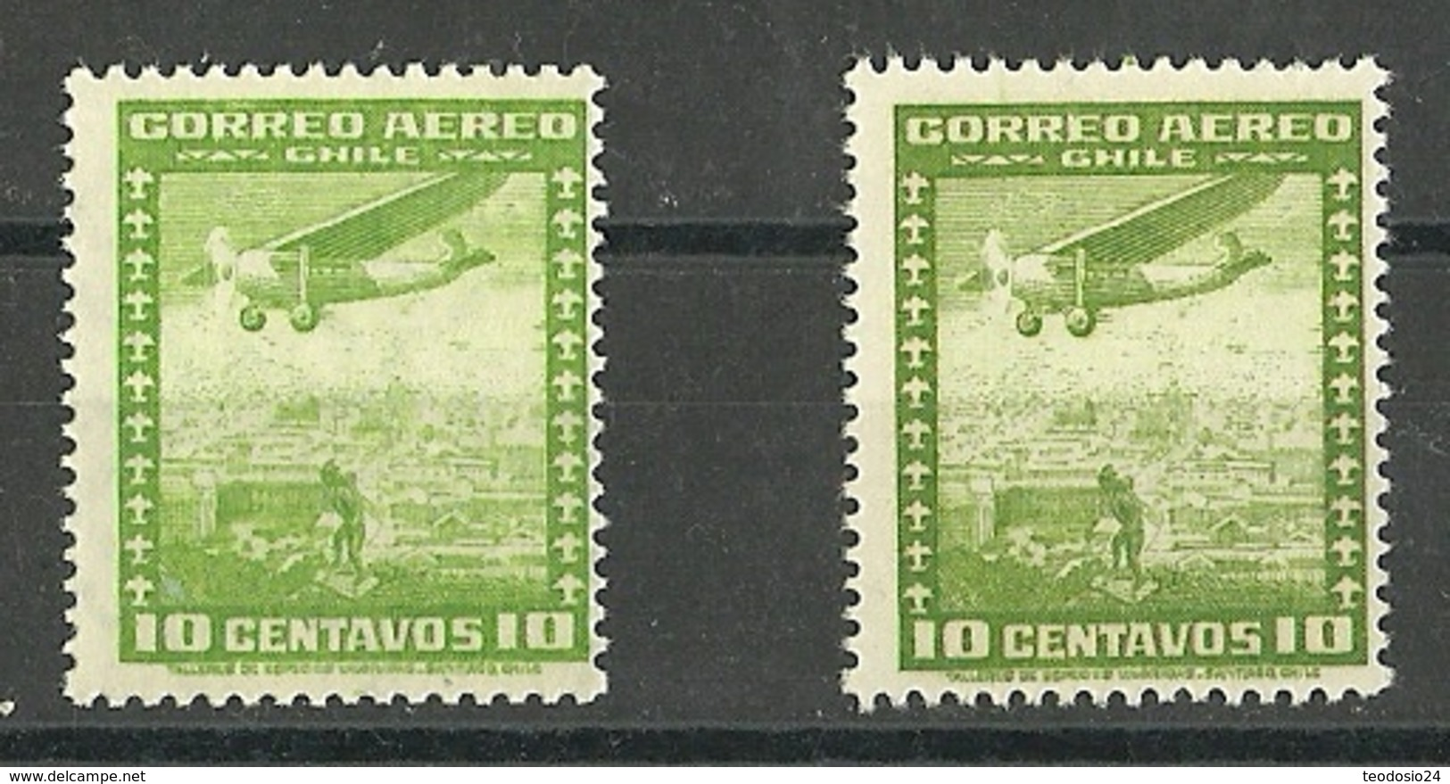 CHILE CORREO AEREO AÑOS  1935 Y 1955  ** MNH   ** MNH        MI 199 Y MI 332 TIPO DE 1935 - Chile