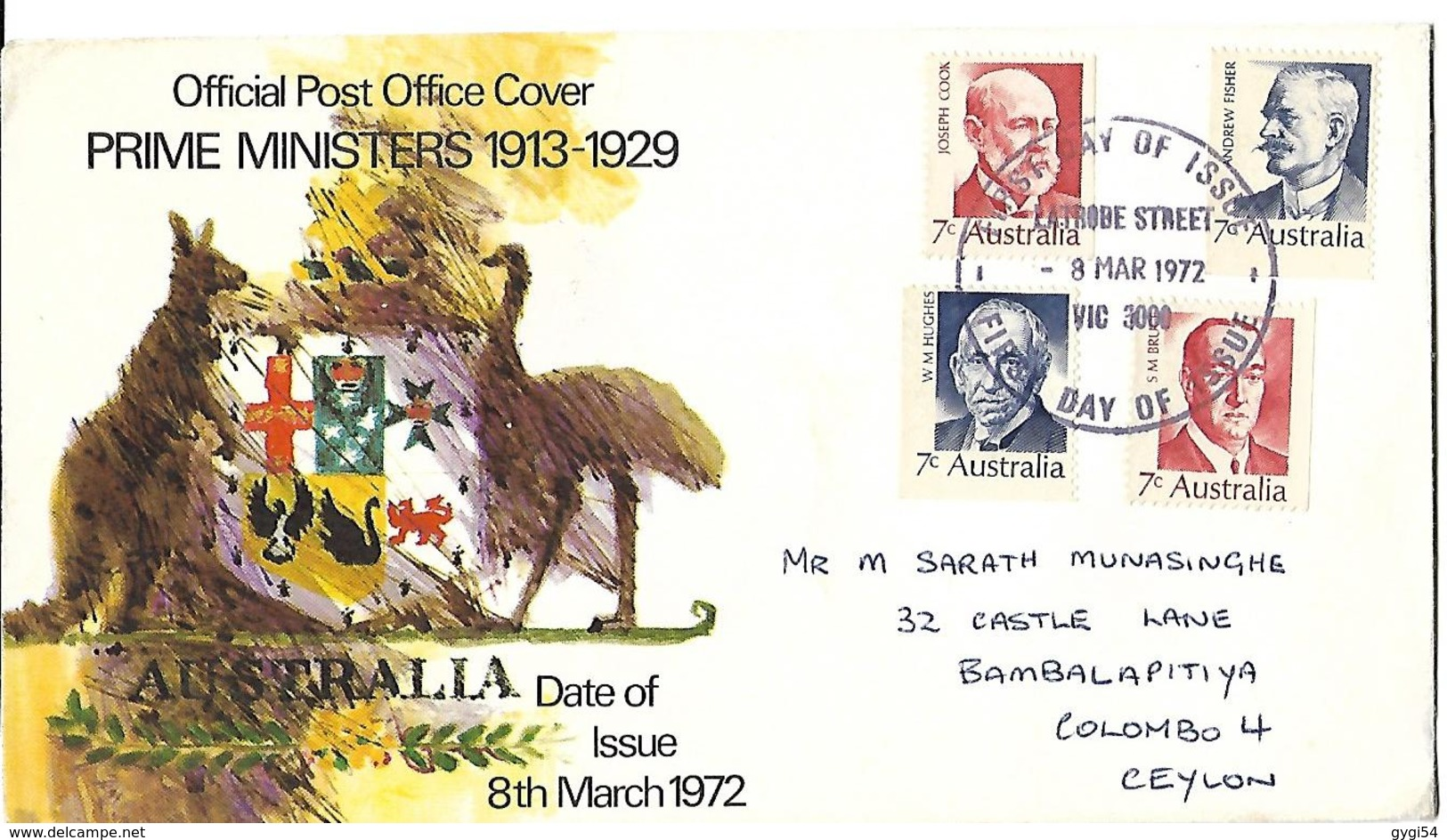Australie  8 Th 1972  Prime Ministers 1913 - 1929 - FDC