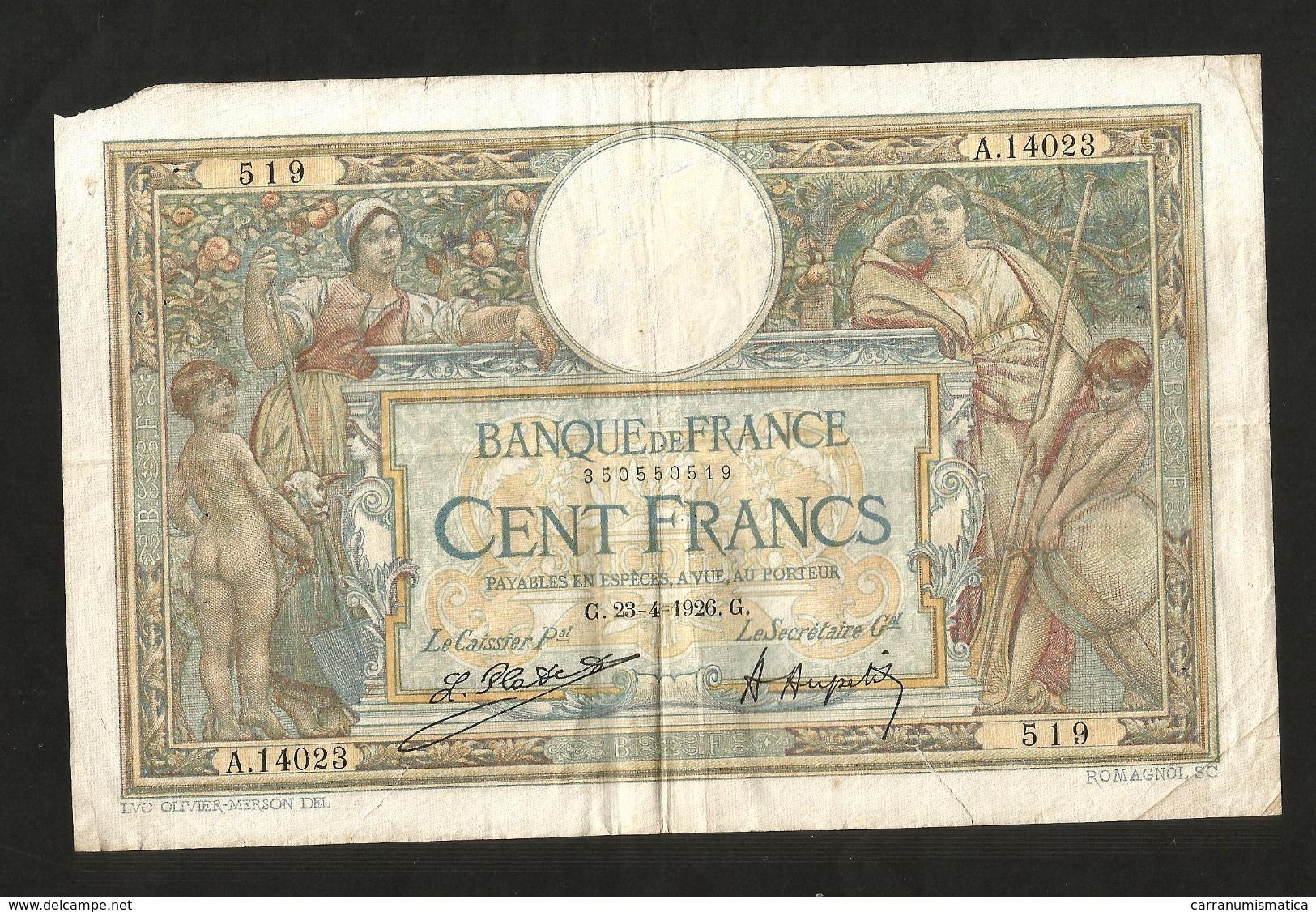 "FRANCE - BANQUE De FRANCE - 100 Francs ""Luc Olivier Merson"" ( G. 23 . 4 . 1926 ) - 100 F 1908-1939 ''Luc Olivier Merson''"