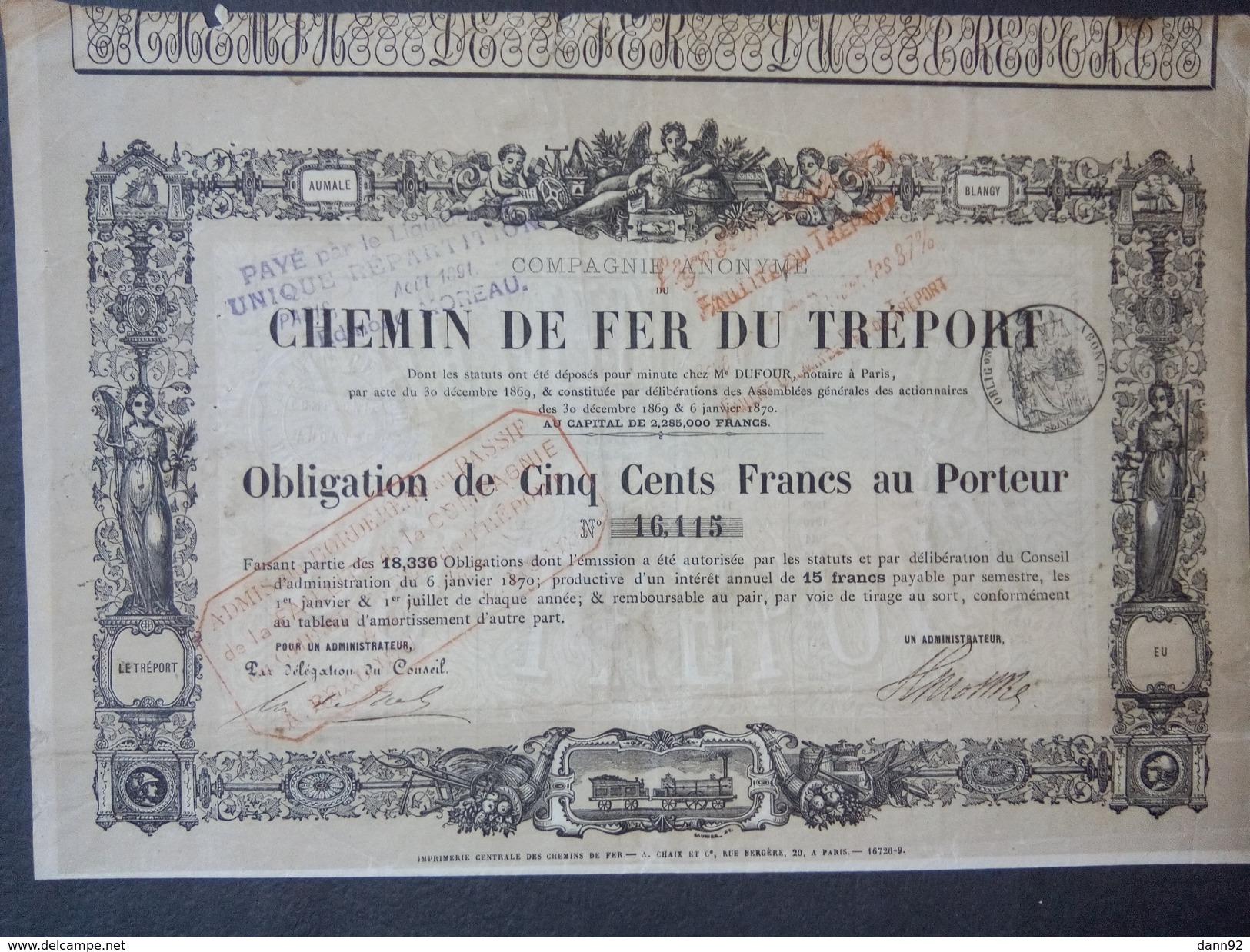 1 Chemin De Fer TREPORT 1869 Obligation 500 FR + Coupons - Autres
