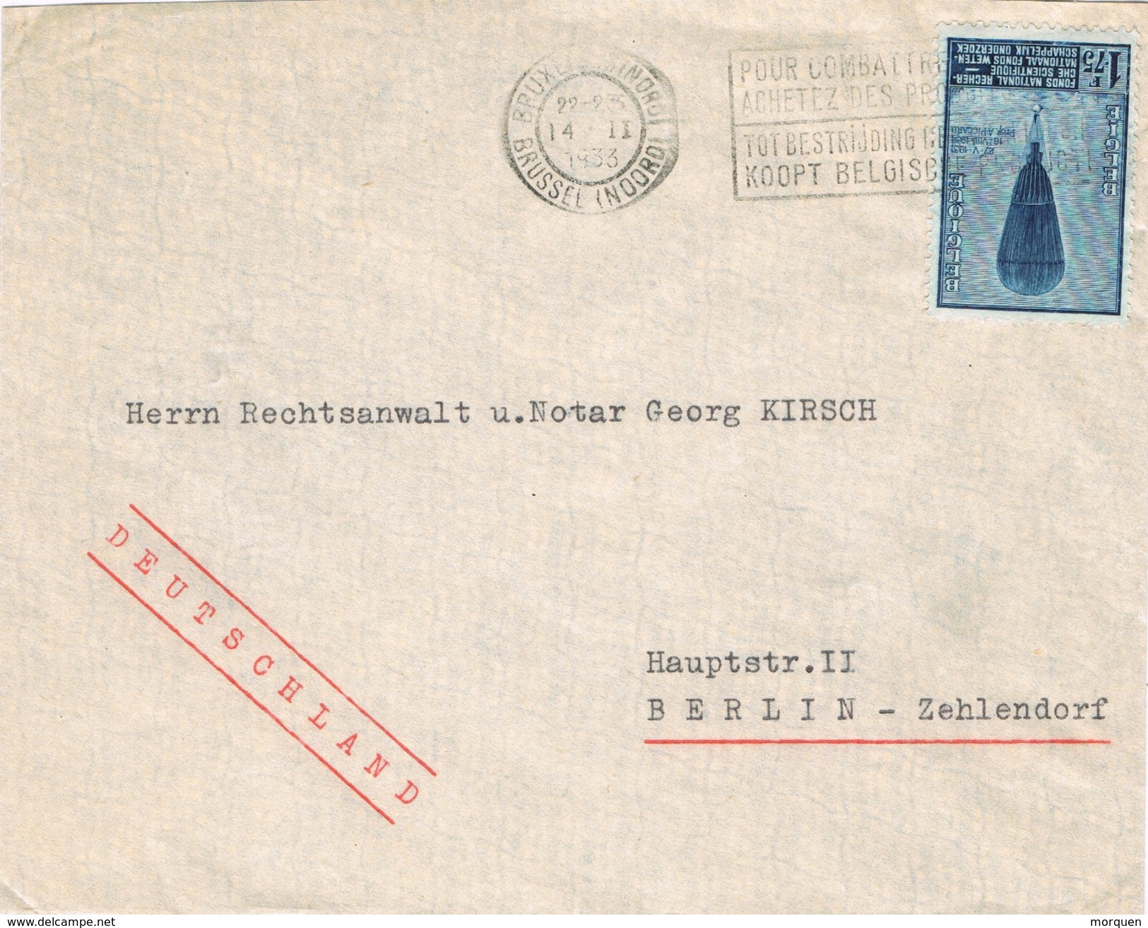 20967. Carta BRUXELLES Nord  (Belgien) 1933. Globus Piccard - Bélgica